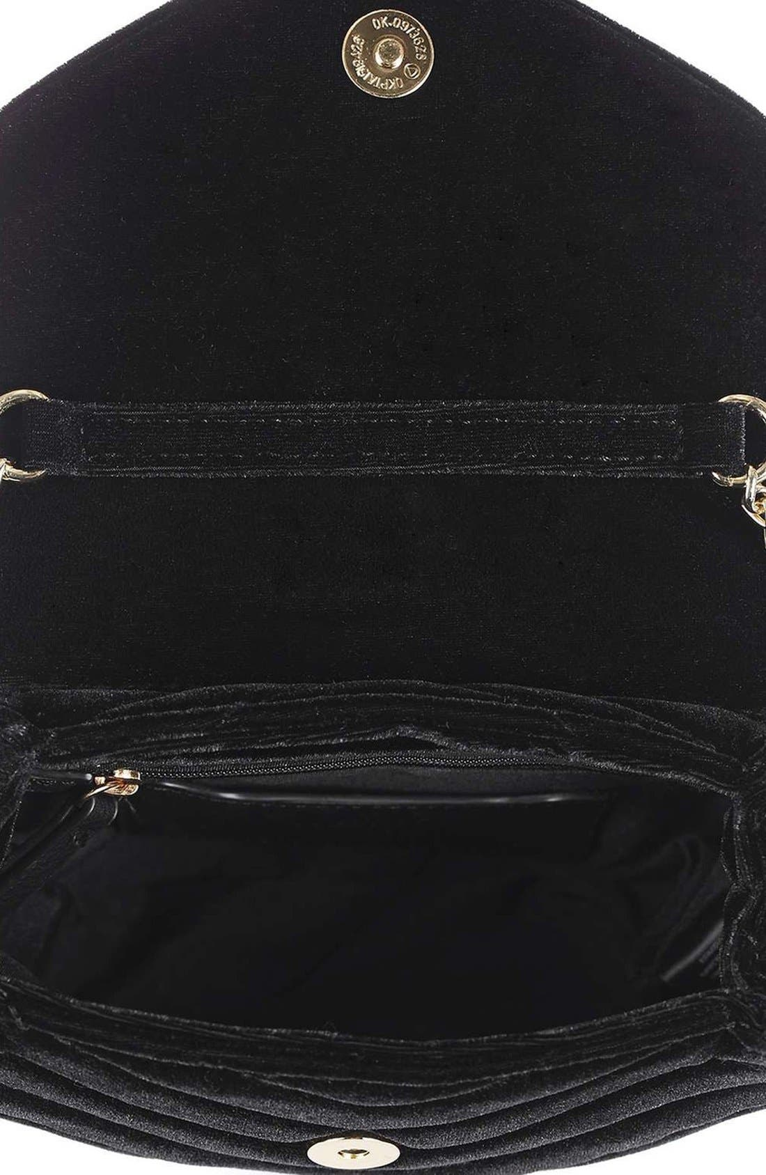 TOPSHOP, Embellished Velvet Crossbody Bag, Alternate thumbnail 2, color, 001