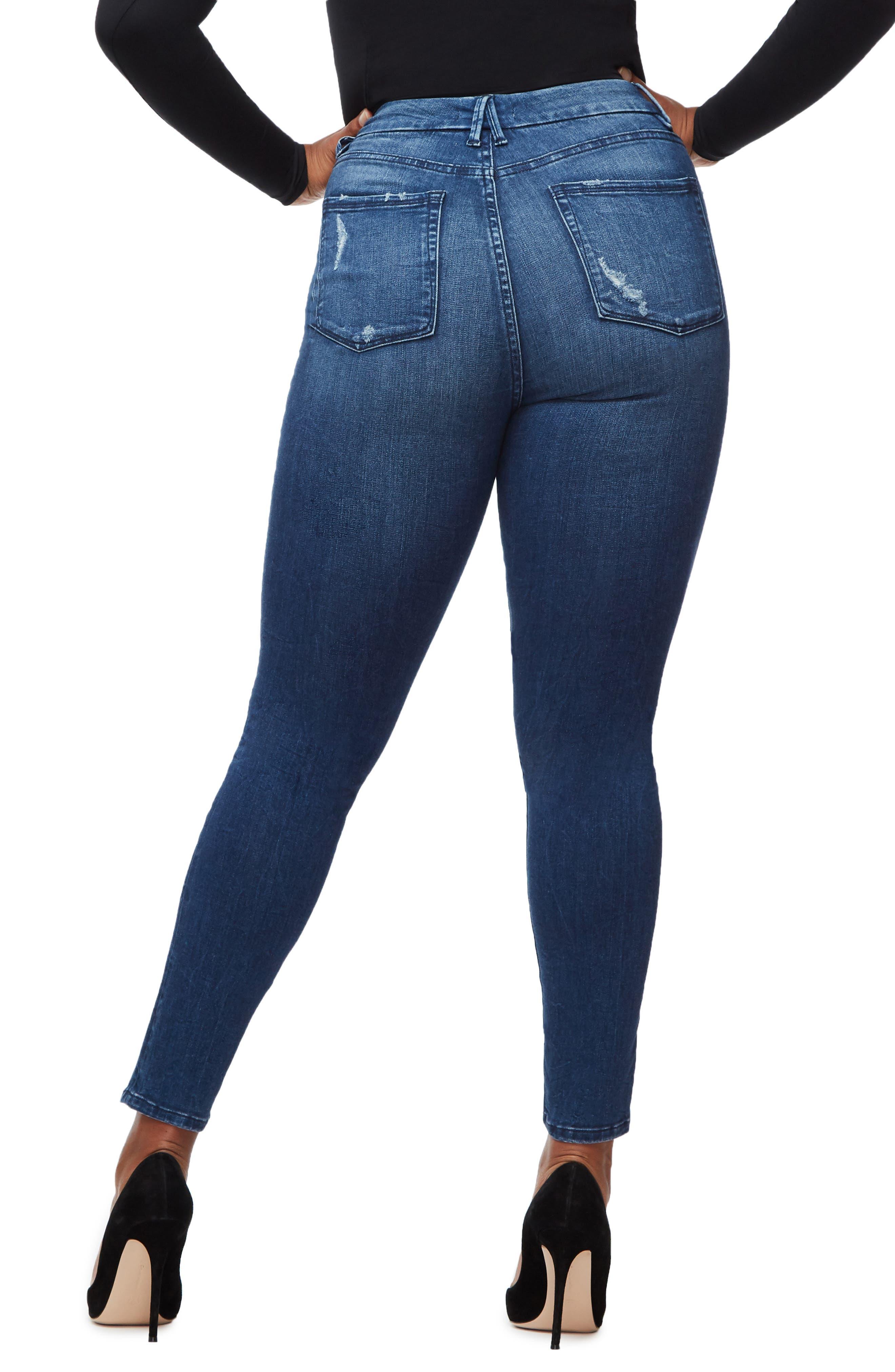 GOOD AMERICAN, Good Waist High Waist Skinny Jeans, Alternate thumbnail 6, color, BLUE249
