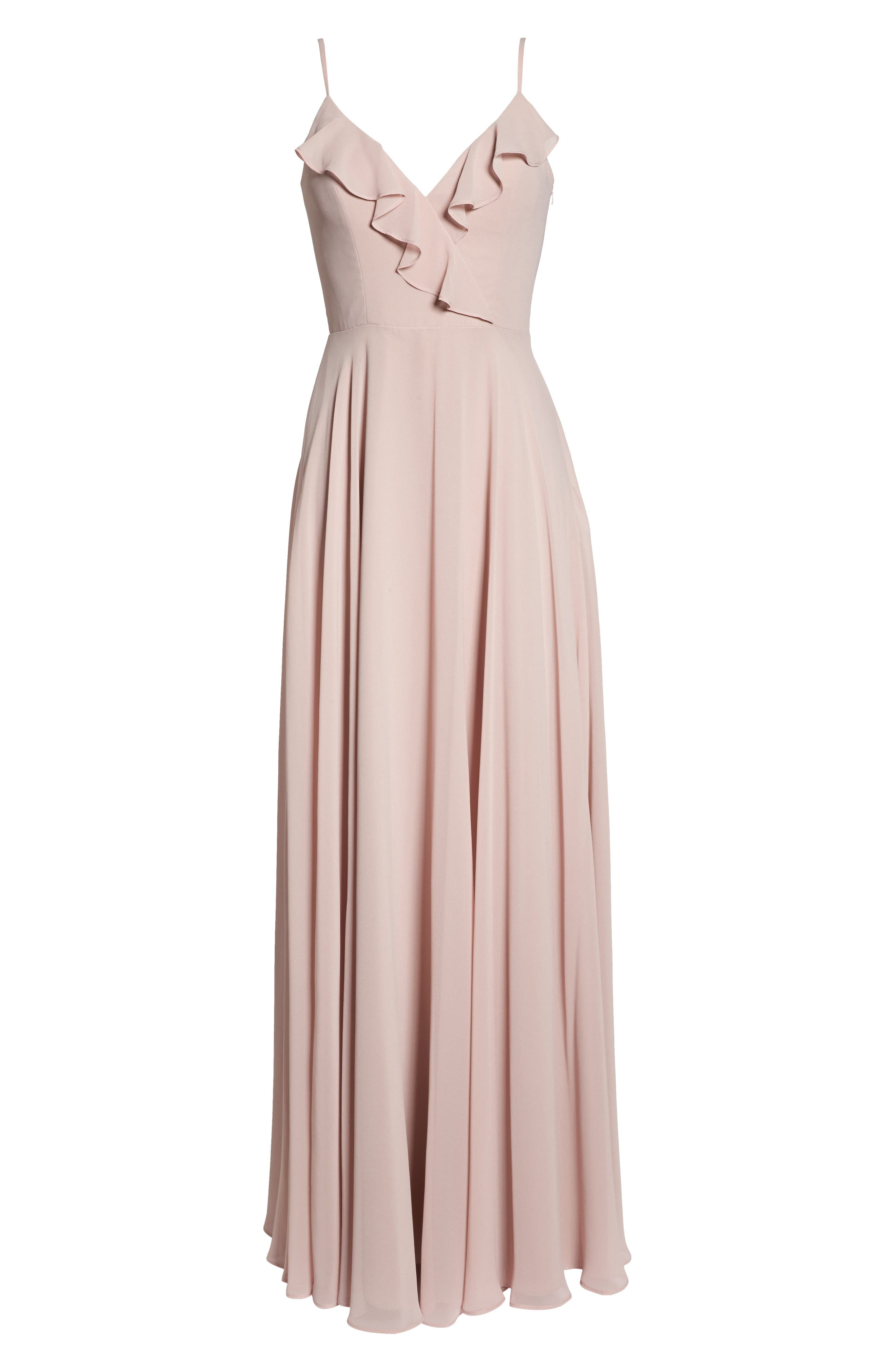 HAYLEY PAIGE OCCASIONS, Ruffle Chiffon Gown, Alternate thumbnail 7, color, DUSTY ROSE
