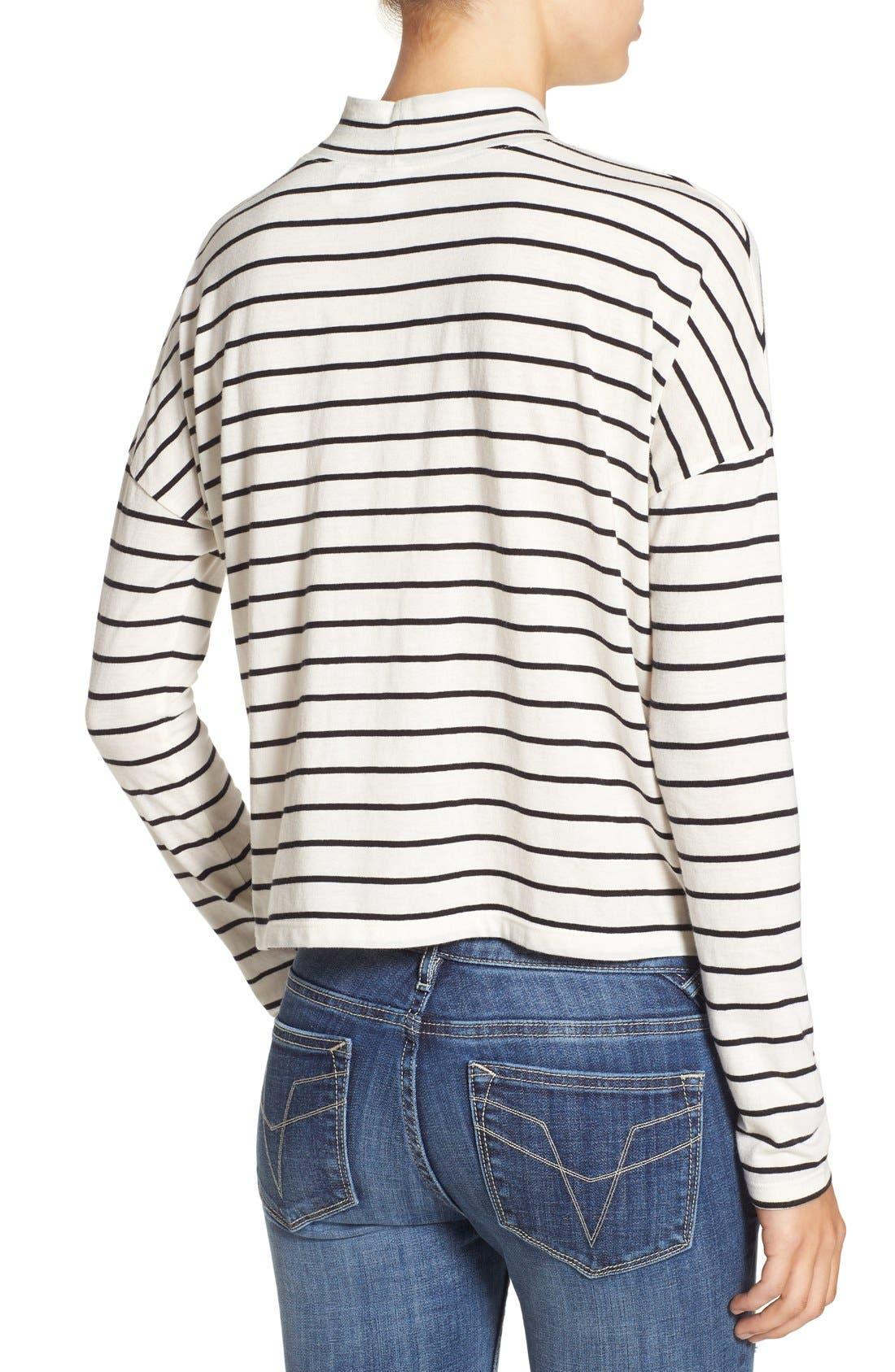BP., Stripe Long Sleeve Mock Neck Tee, Alternate thumbnail 4, color, 900