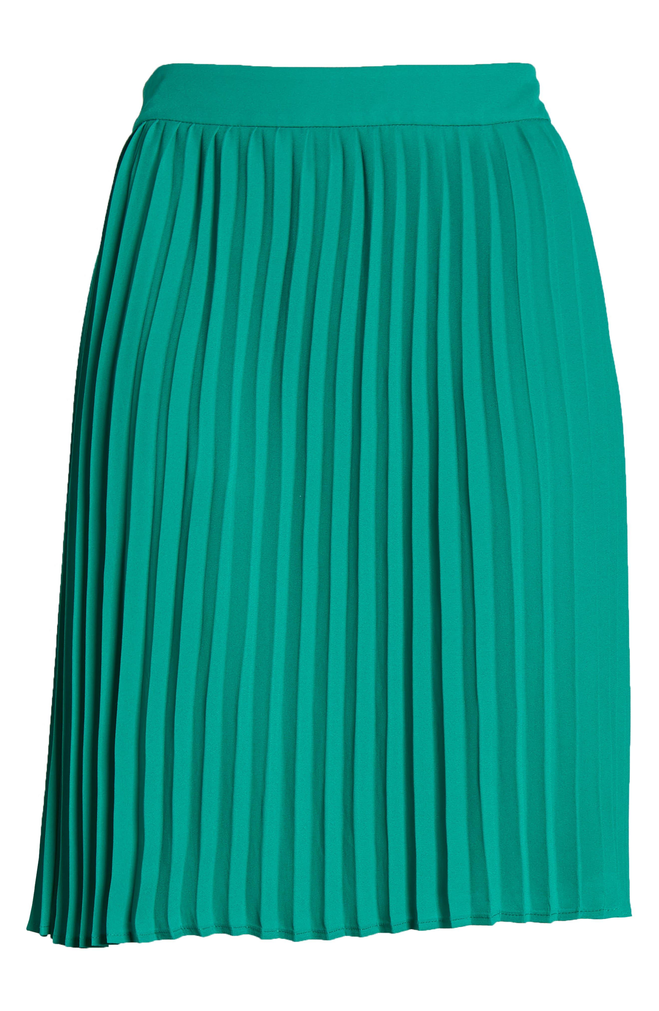 GIBSON, x International Women's Day Thamarr Pleated Skirt, Alternate thumbnail 6, color, GREEN