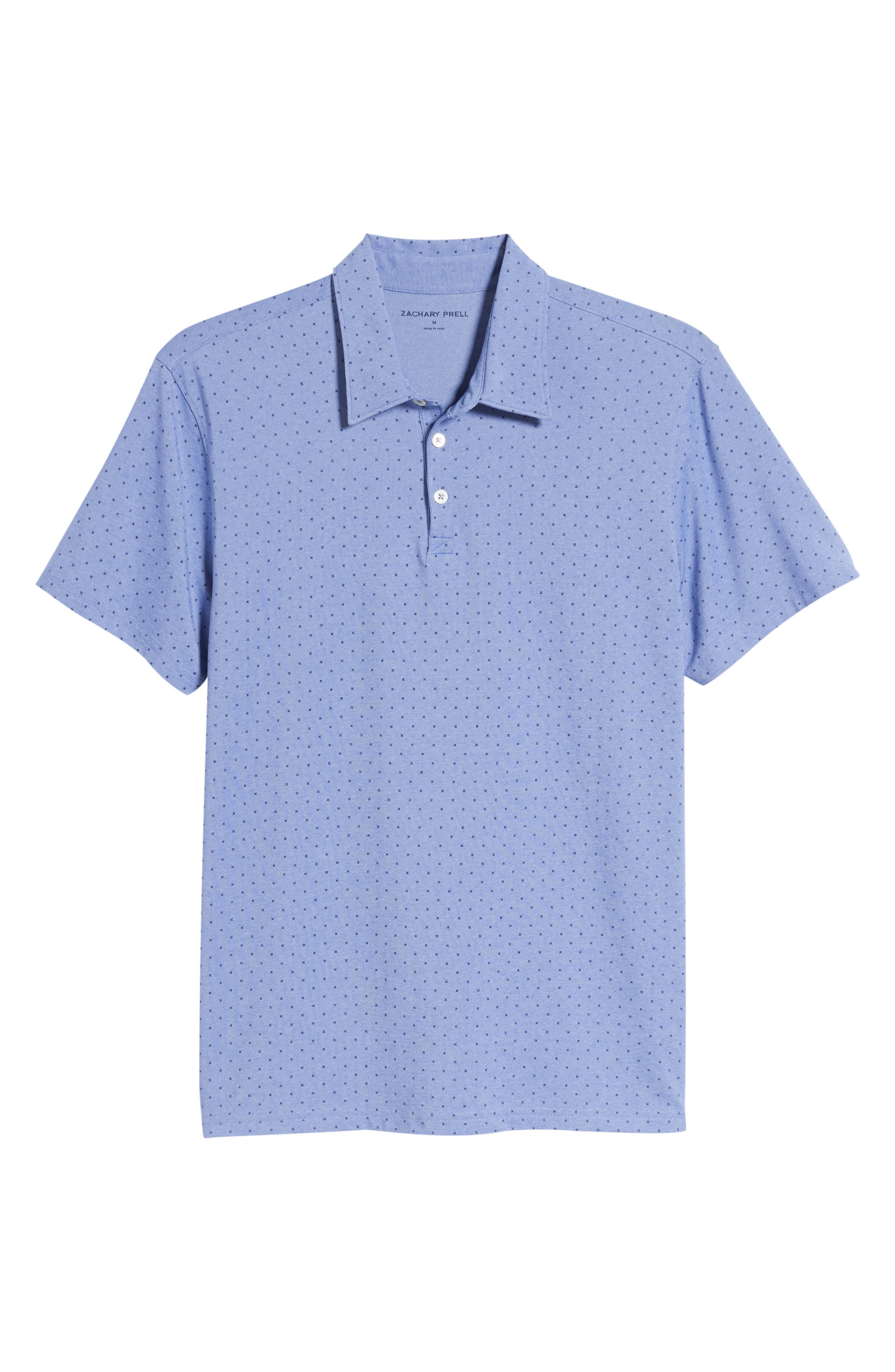 ZACHARY PRELL, Bayville Regular Fit Dobby Polo, Alternate thumbnail 6, color, LT BLUE
