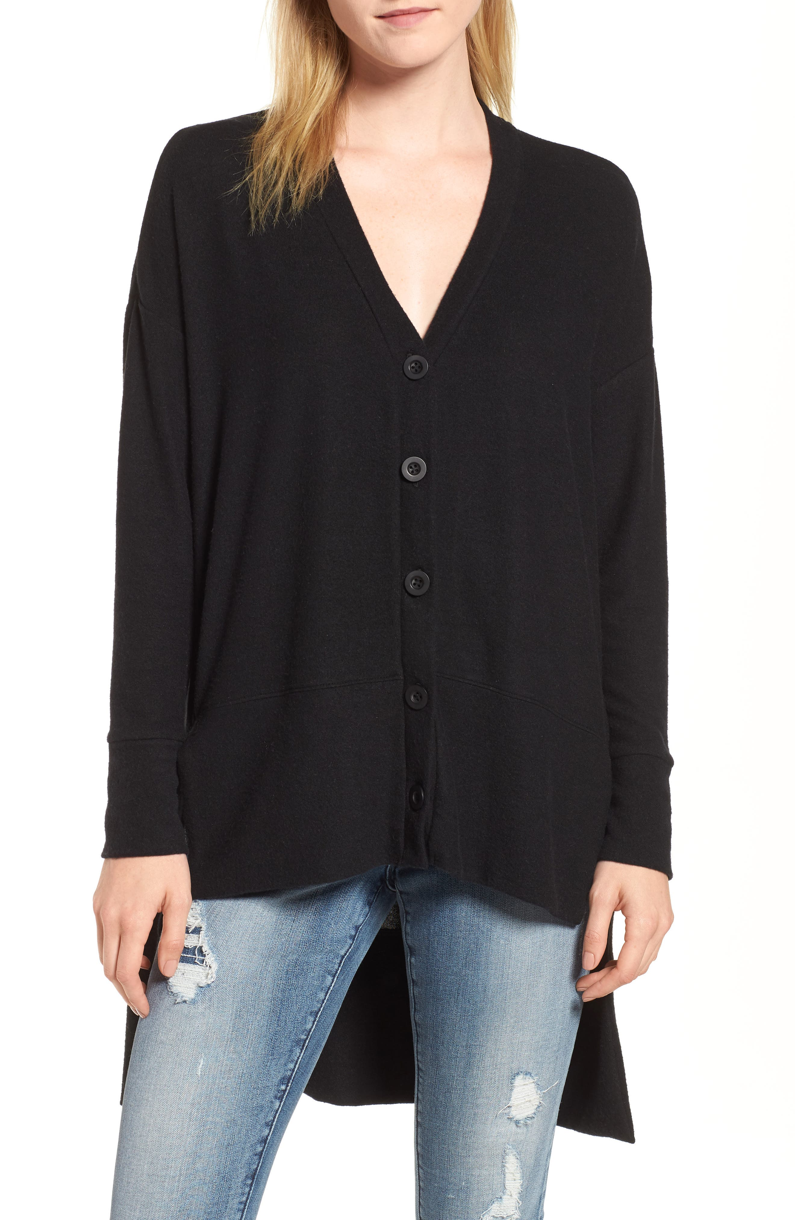 GIBSON, High/Low Easy Cardigan, Main thumbnail 1, color, BLACK