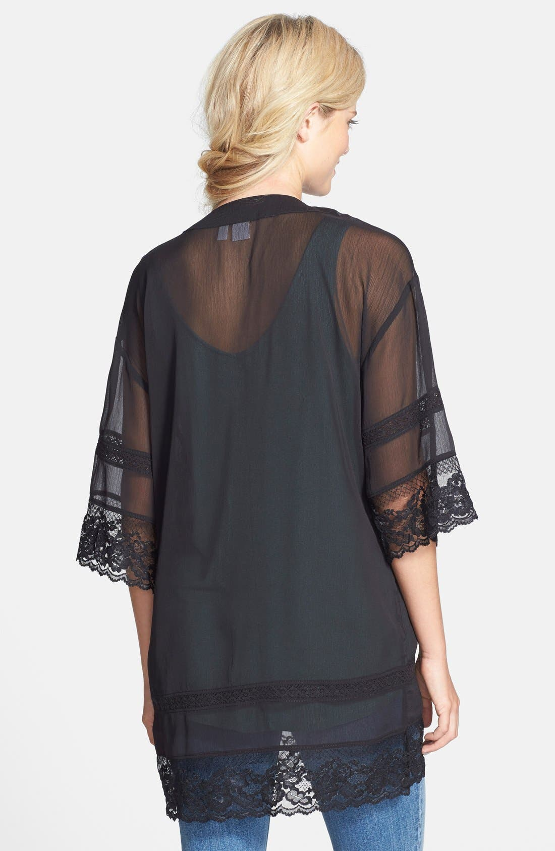 BP., Lace Trim Kimono, Alternate thumbnail 3, color, 001