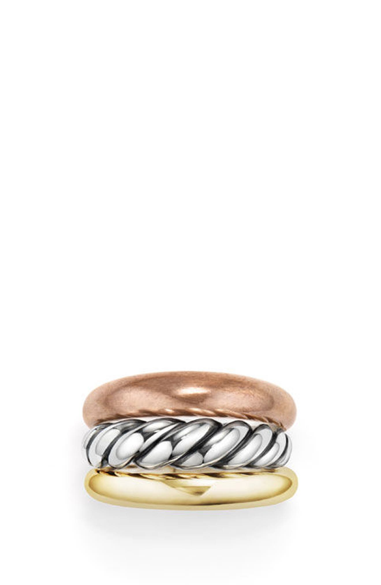 DAVID YURMAN, Pure Form Mixed Metal Three-Row Ring with Bronze, Silver & Brass, Alternate thumbnail 4, color, SILVER