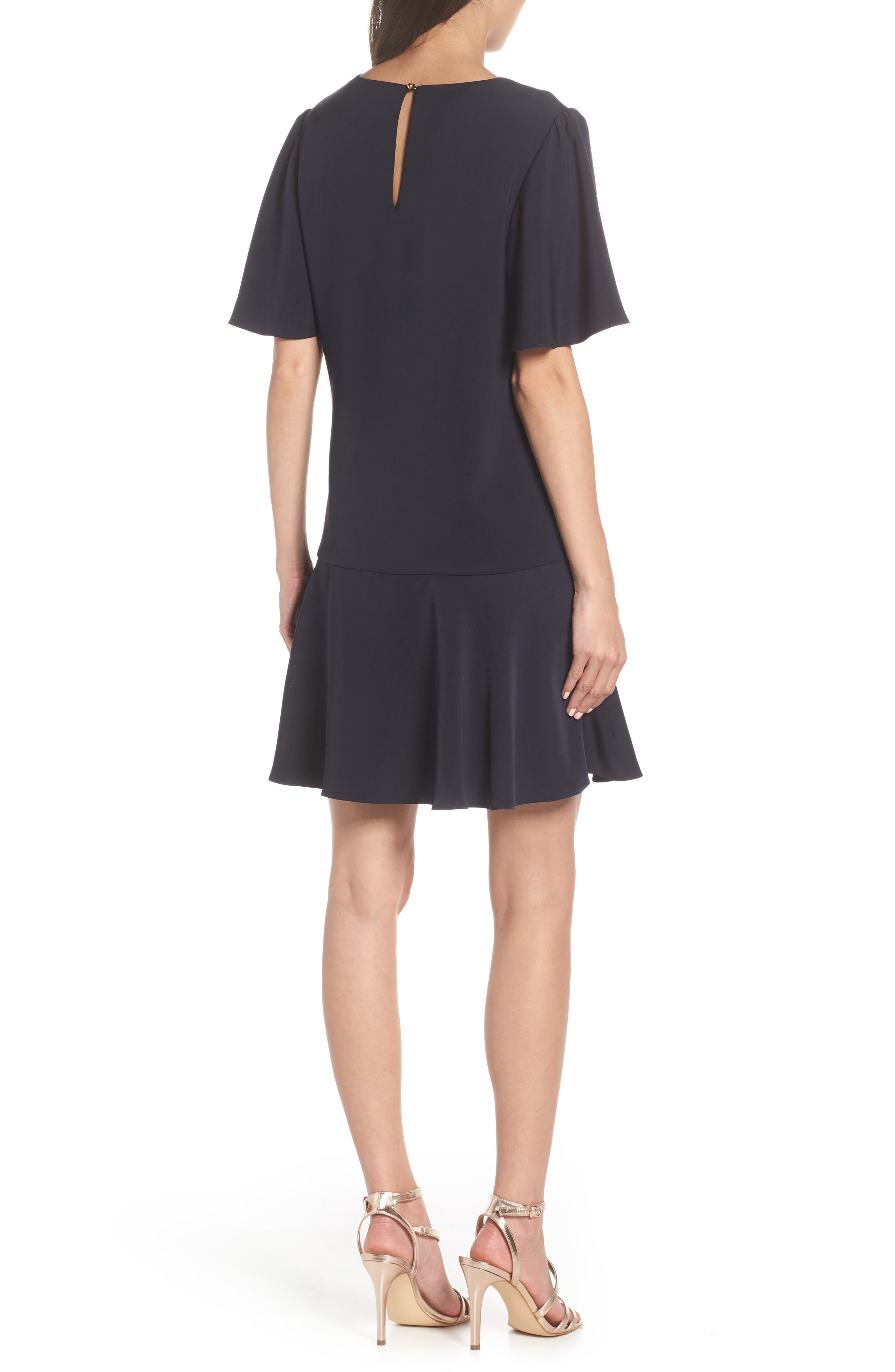 CHARLES HENRY, Flutter Sleeve Shift Dress, Alternate thumbnail 2, color, NAVY