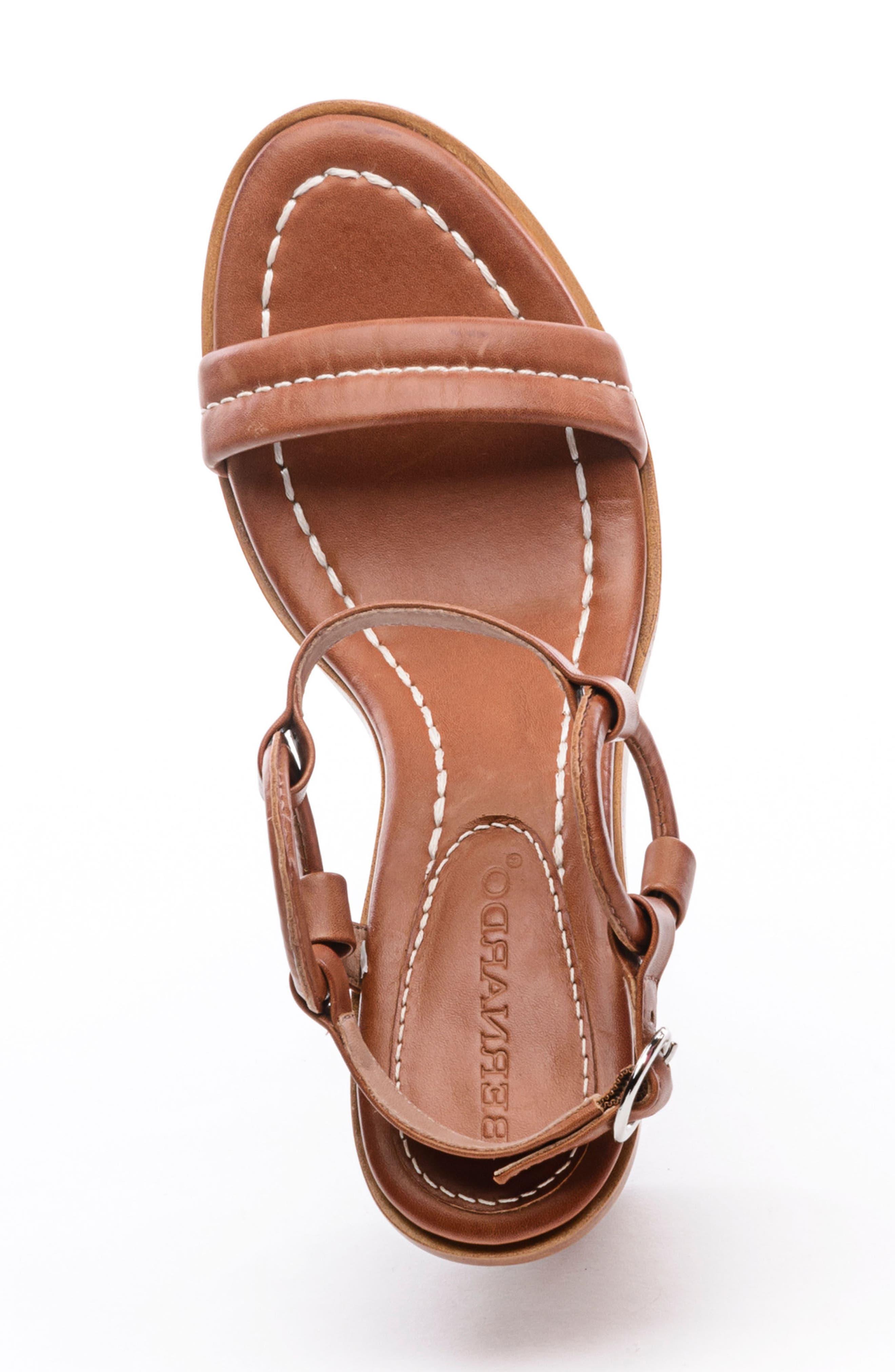 BERNARDO, Harlow Ankle Strap Sandal, Alternate thumbnail 5, color, LUGGAGE LEATHER