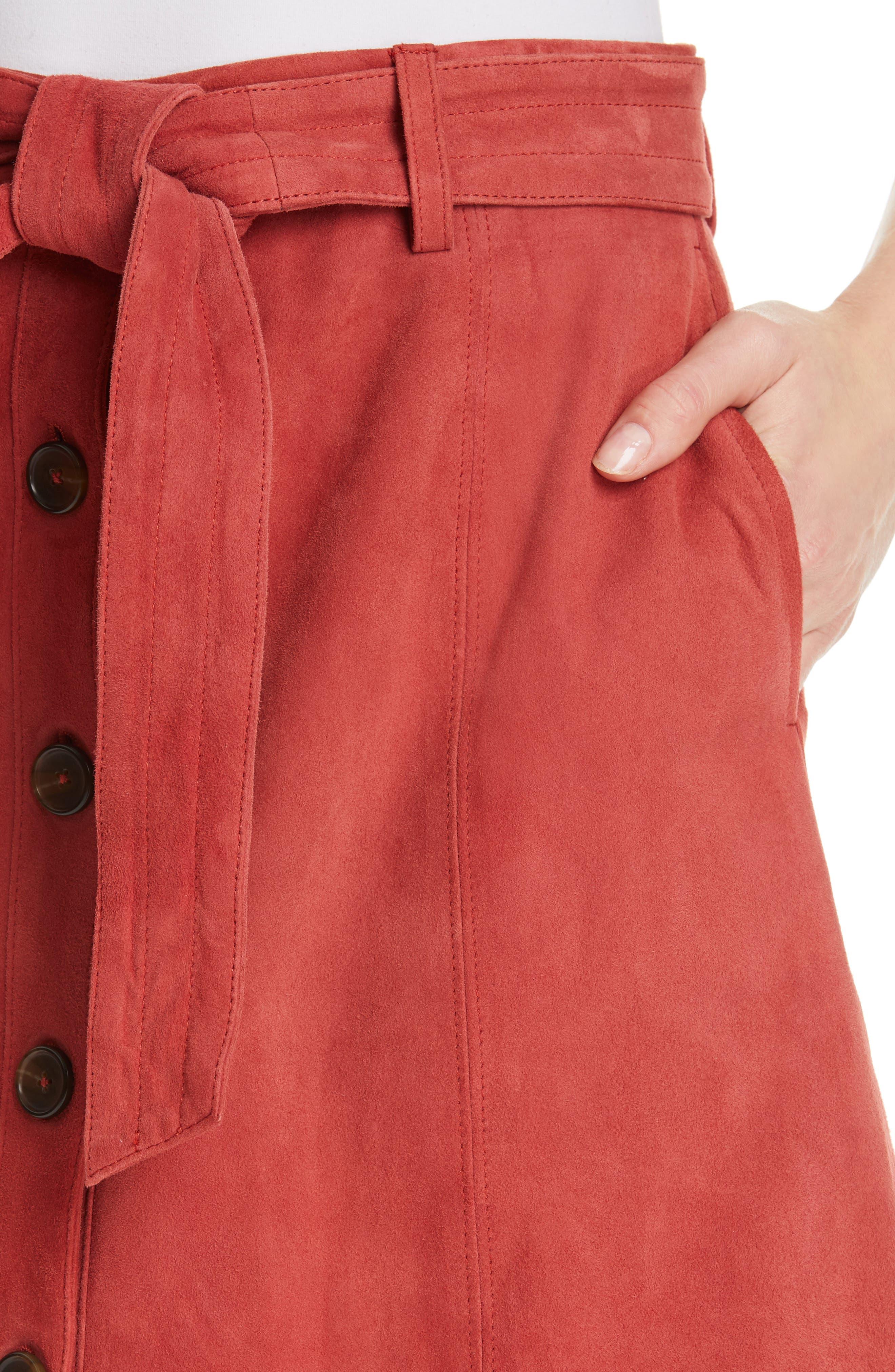 JOIE, Neida Suede Miniskirt, Alternate thumbnail 4, color, DESERT SPICE