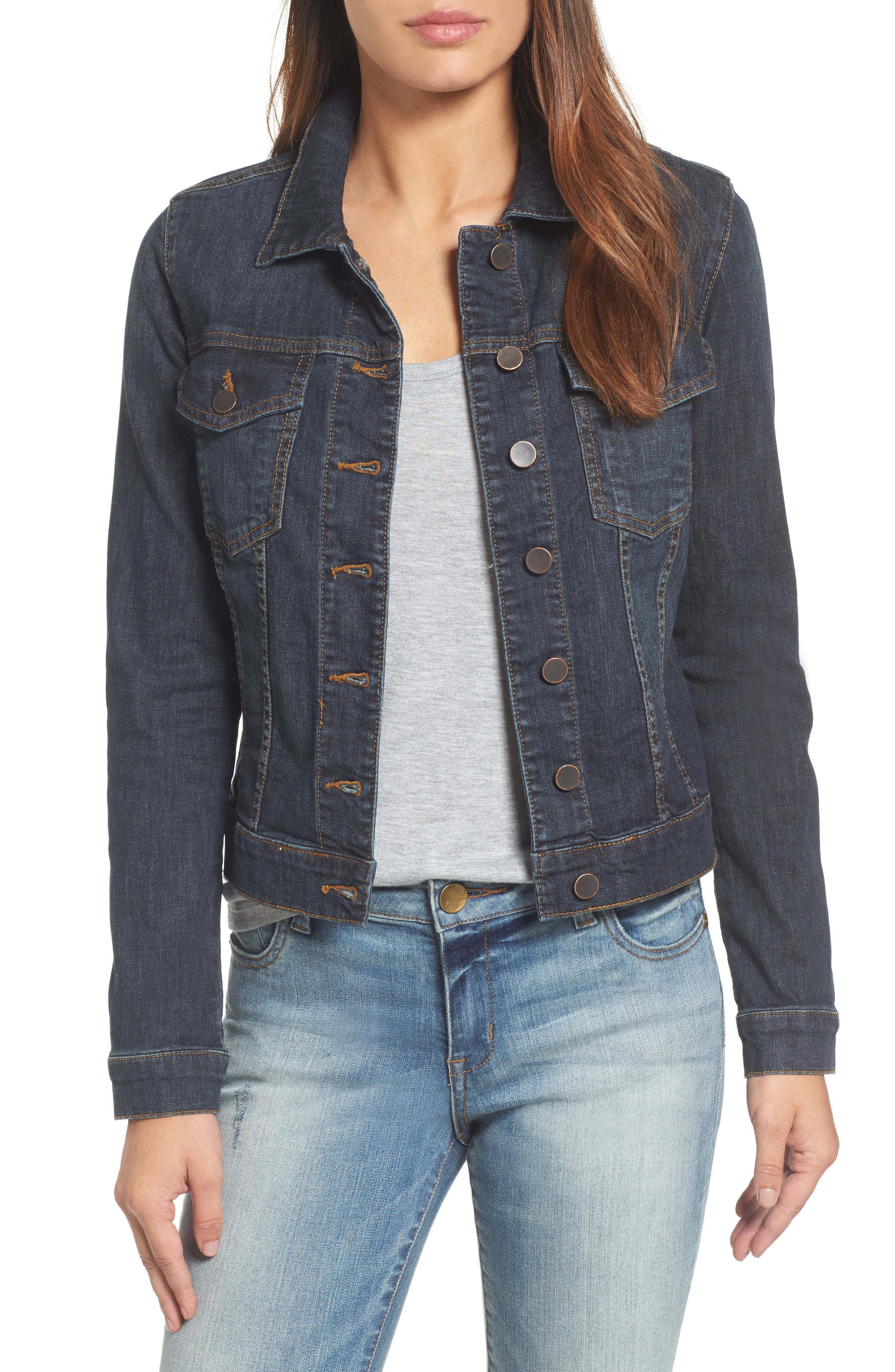 KUT FROM THE KLOTH, 'Helena' Denim Jacket, Main thumbnail 1, color, GRATITUDE