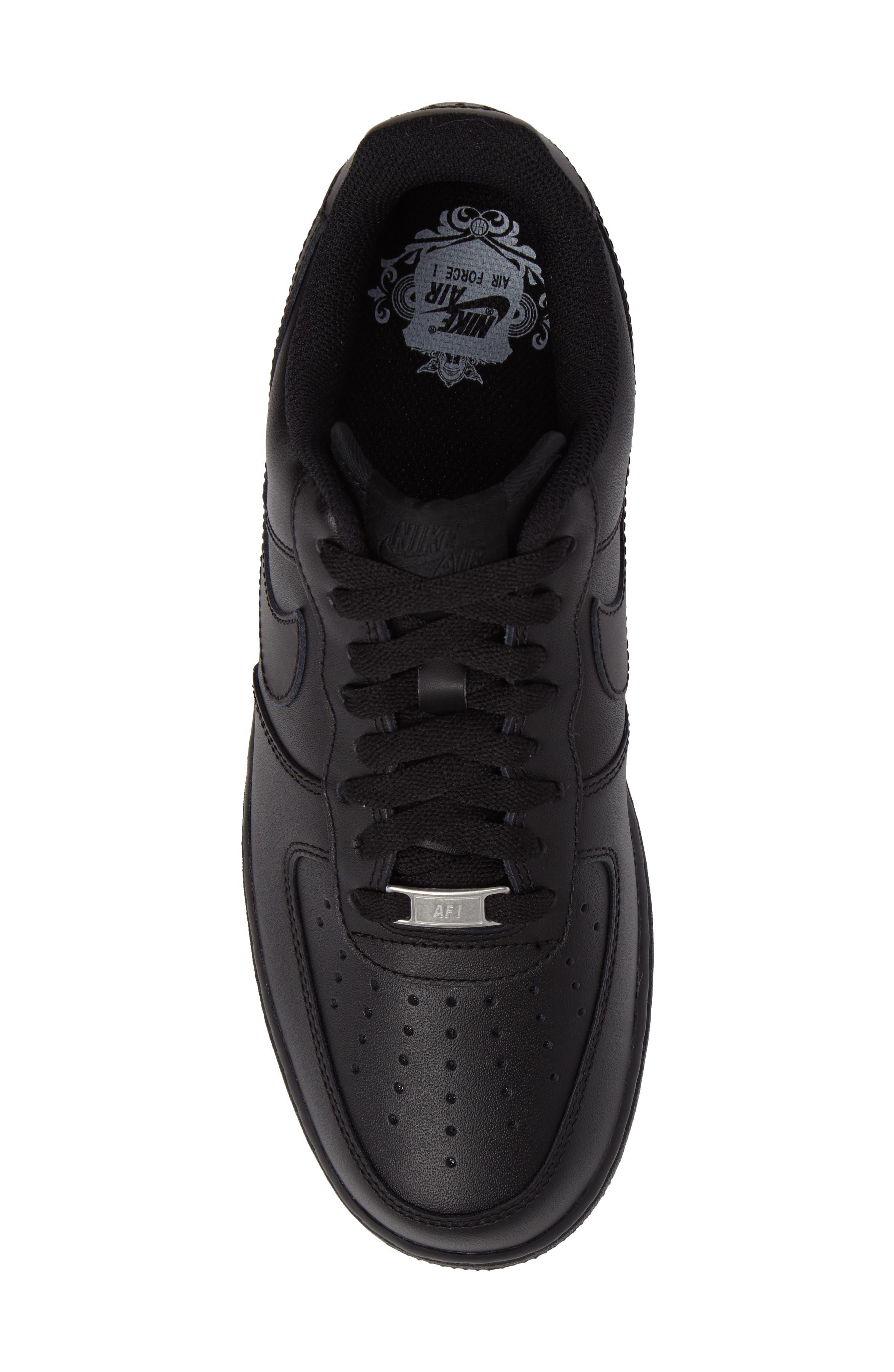 NIKE, Air Force 1 '07 Sneaker, Alternate thumbnail 5, color, BLACK/ BLACK