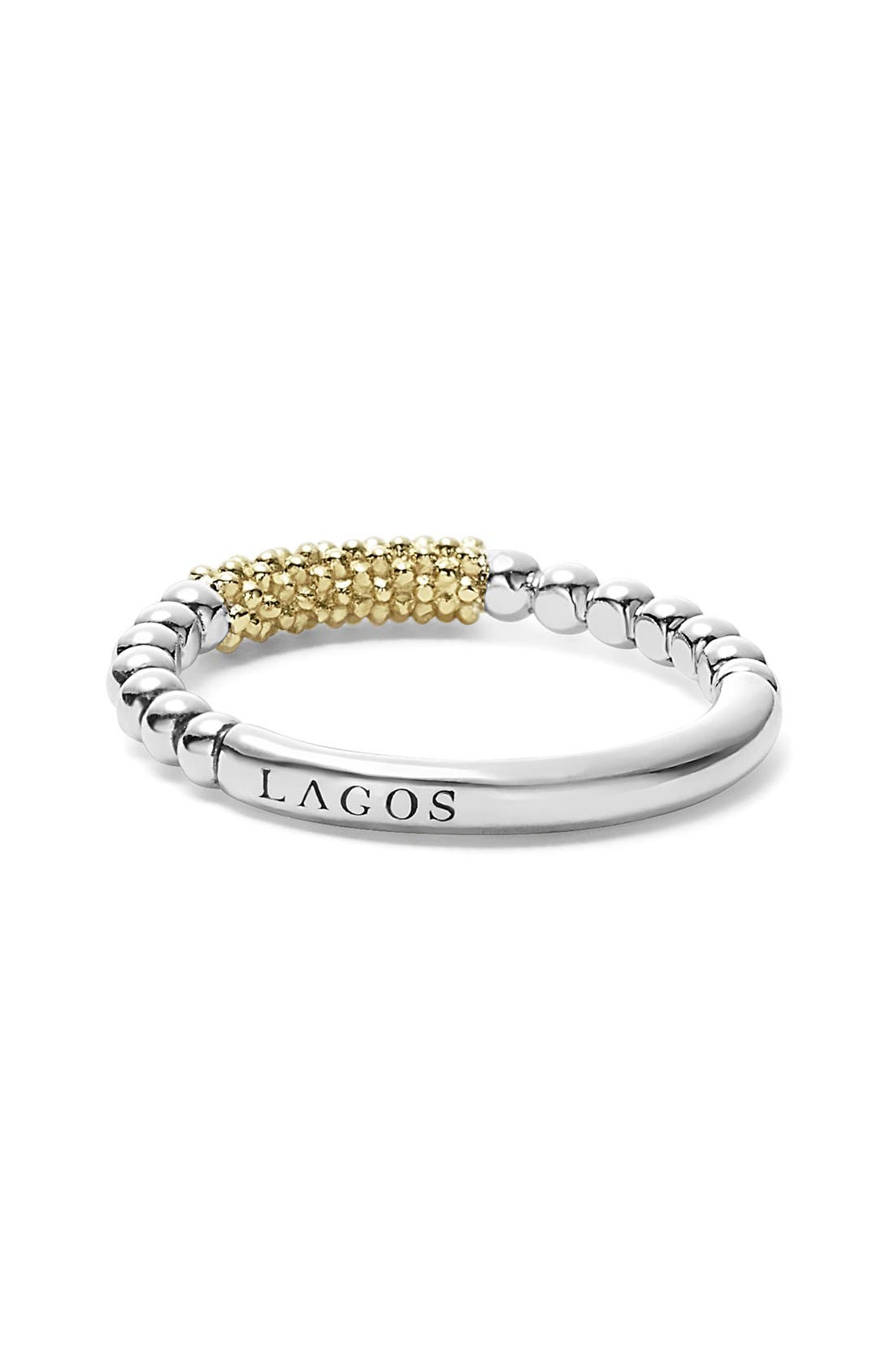 LAGOS, 'Caviar Icon' Stacking Ring, Alternate thumbnail 7, color, SILVER/ GOLD
