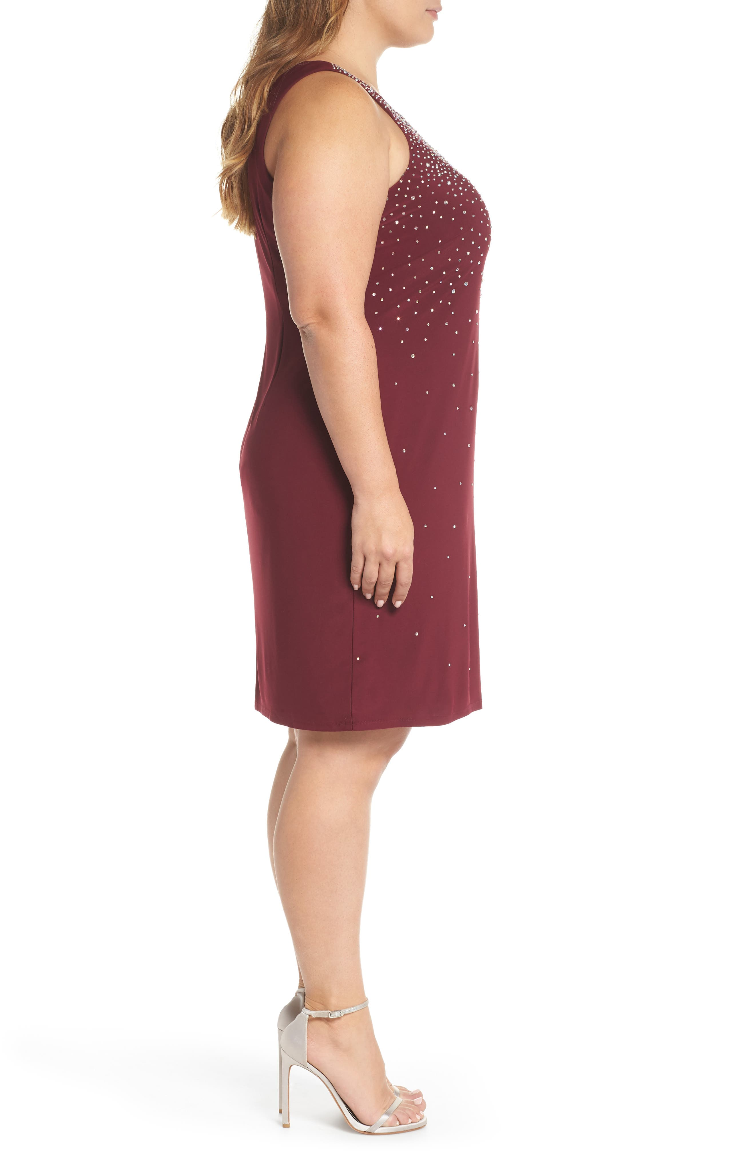 MORGAN & CO., Embellished Keyhole Neck Sheath Dress, Alternate thumbnail 4, color, MERLOT