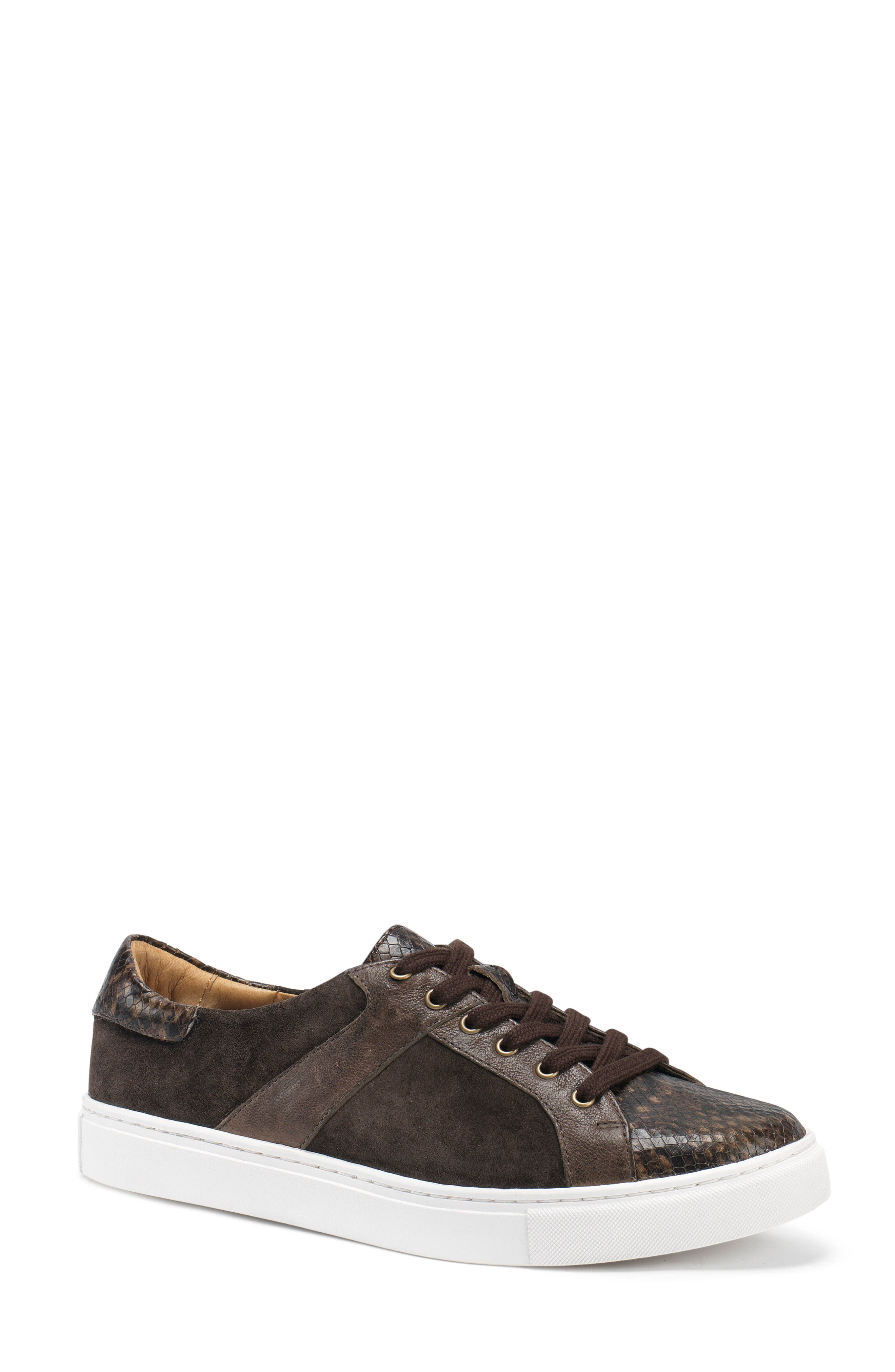 TRASK, Lindsey Sneaker, Main thumbnail 1, color, BROWN PRINT LEATHER