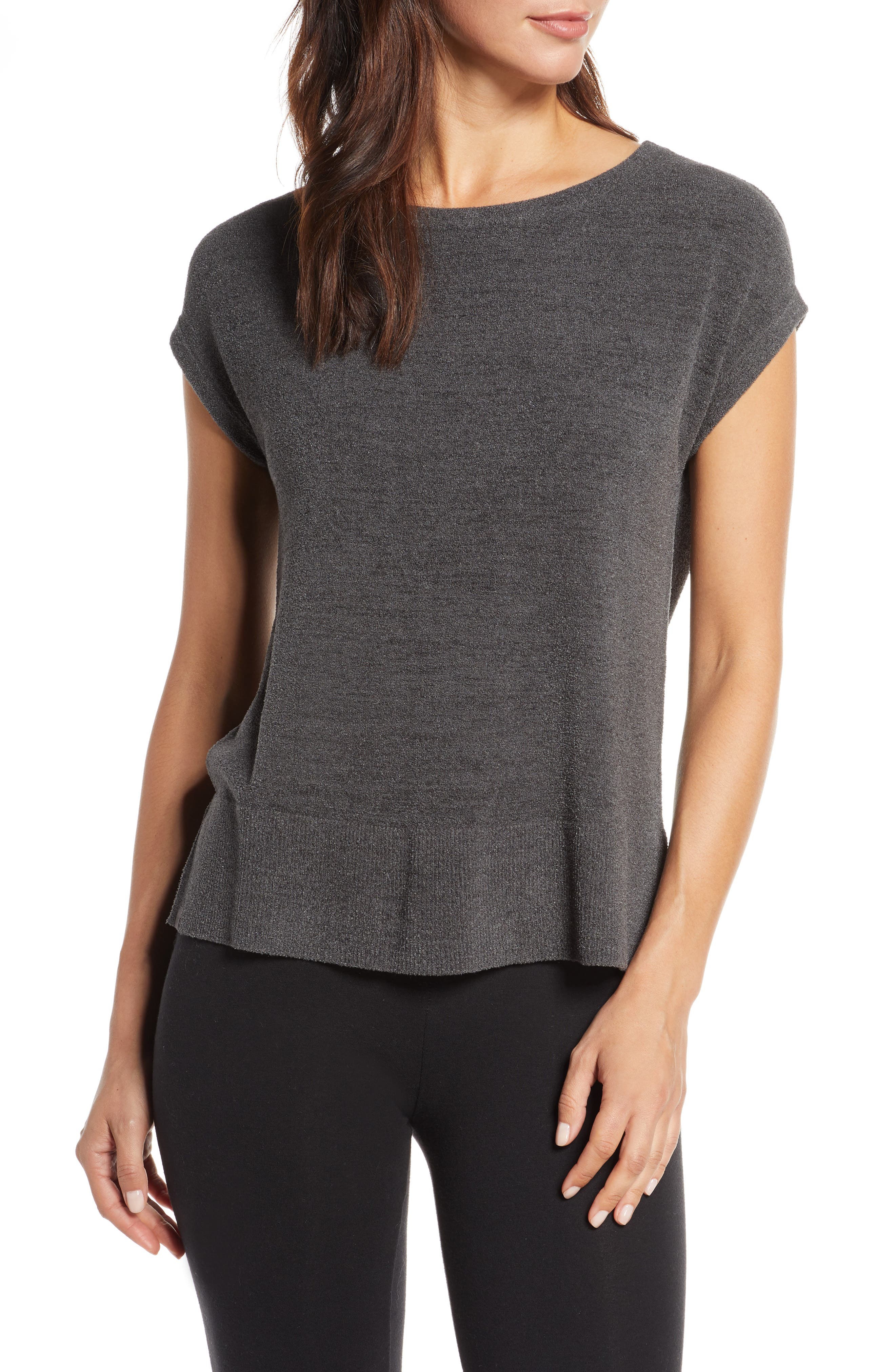 BAREFOOT DREAMS<SUP>®</SUP>, CozyChic Ultra Lite<sup>®</sup> Lounge Tee, Main thumbnail 1, color, CARBON