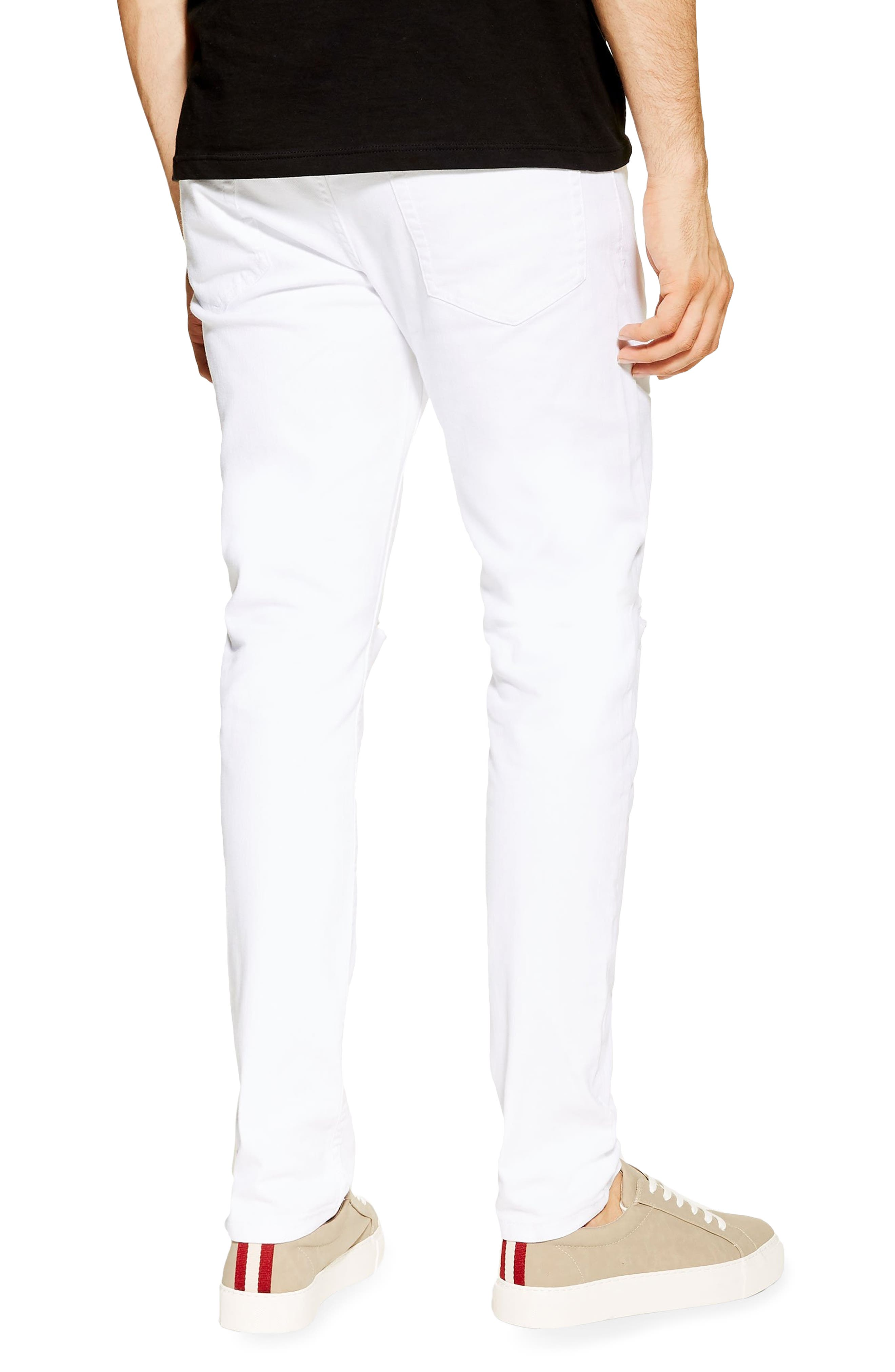 TOPMAN, Ripped Stretch Skinny Fit Jeans, Alternate thumbnail 2, color, WHITE