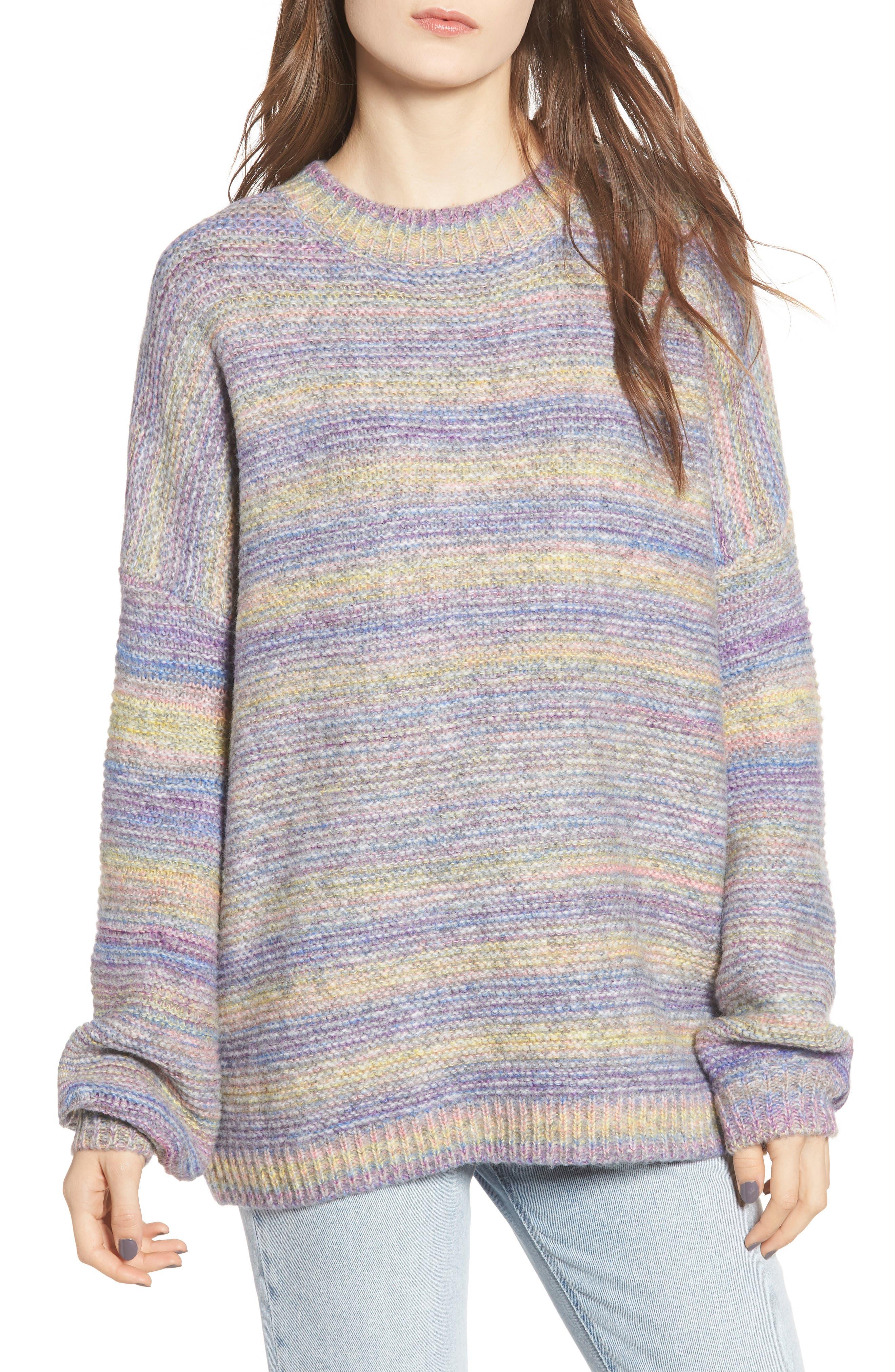 PROSPERITY DENIM, Rainbow Marl Sweater, Main thumbnail 1, color, YELLOW