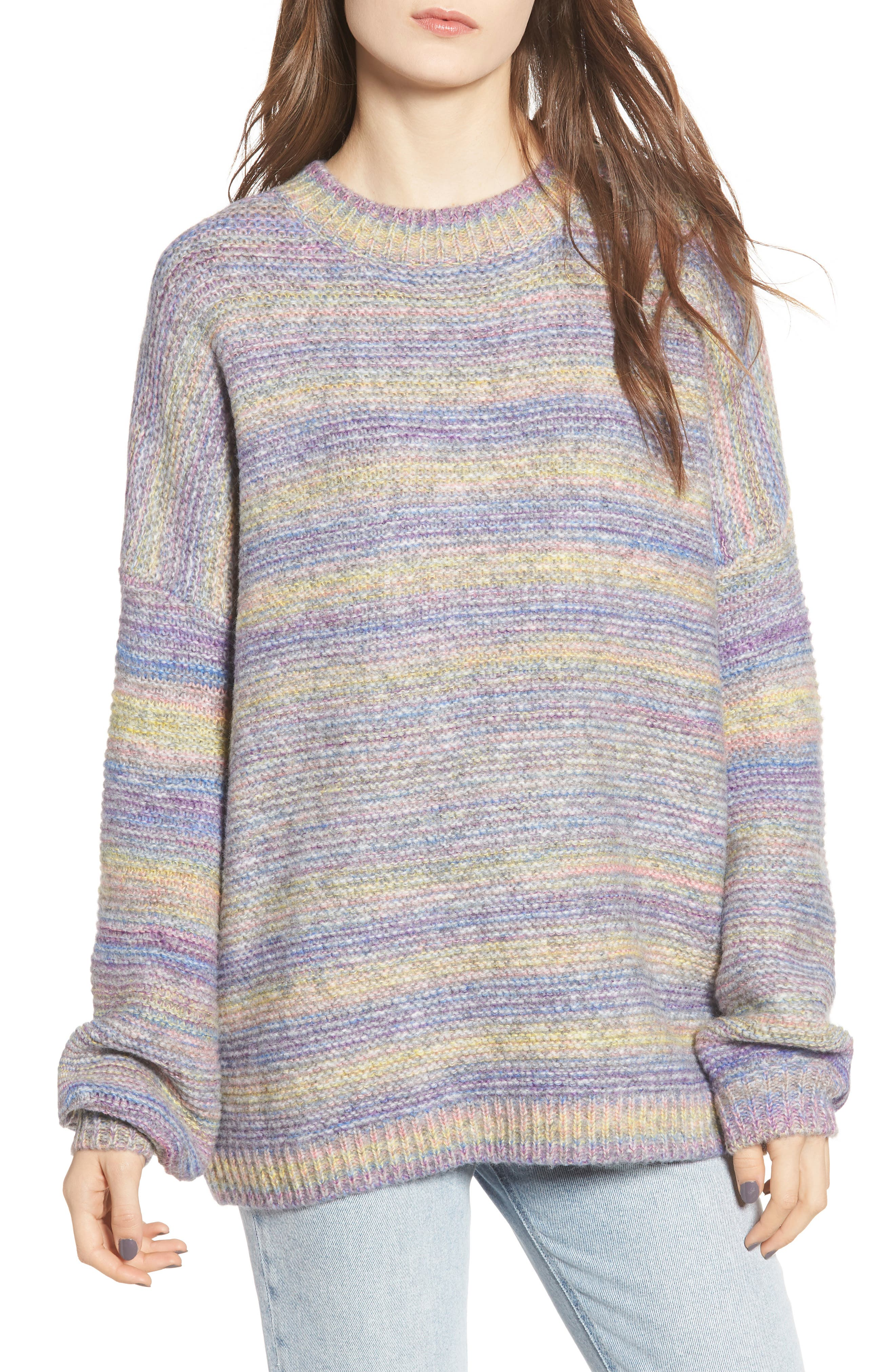 PROSPERITY DENIM Rainbow Marl Sweater, Main, color, YELLOW