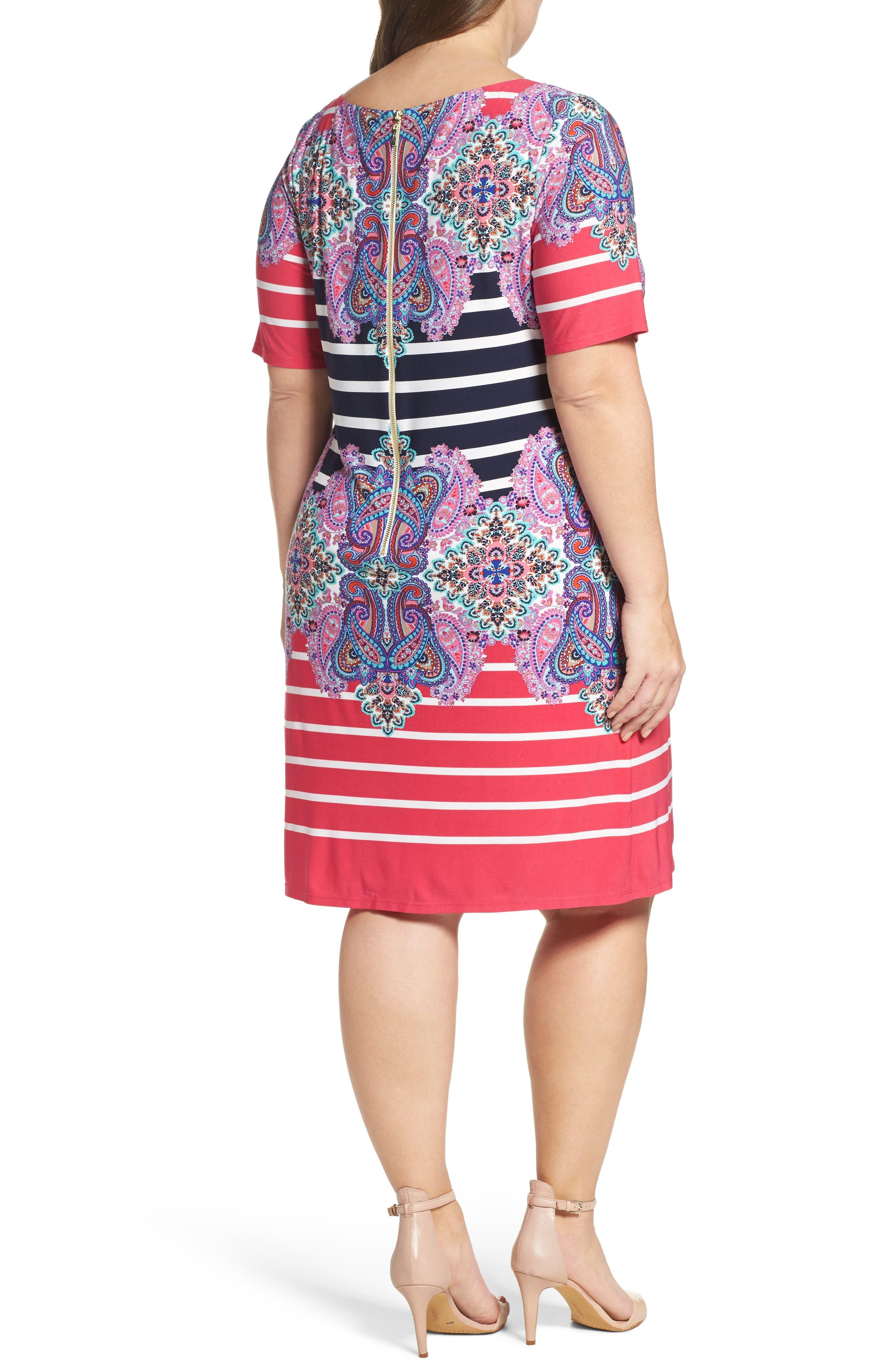 ELIZA J, Stripe & Paisley Shift Dress, Alternate thumbnail 2, color, 698