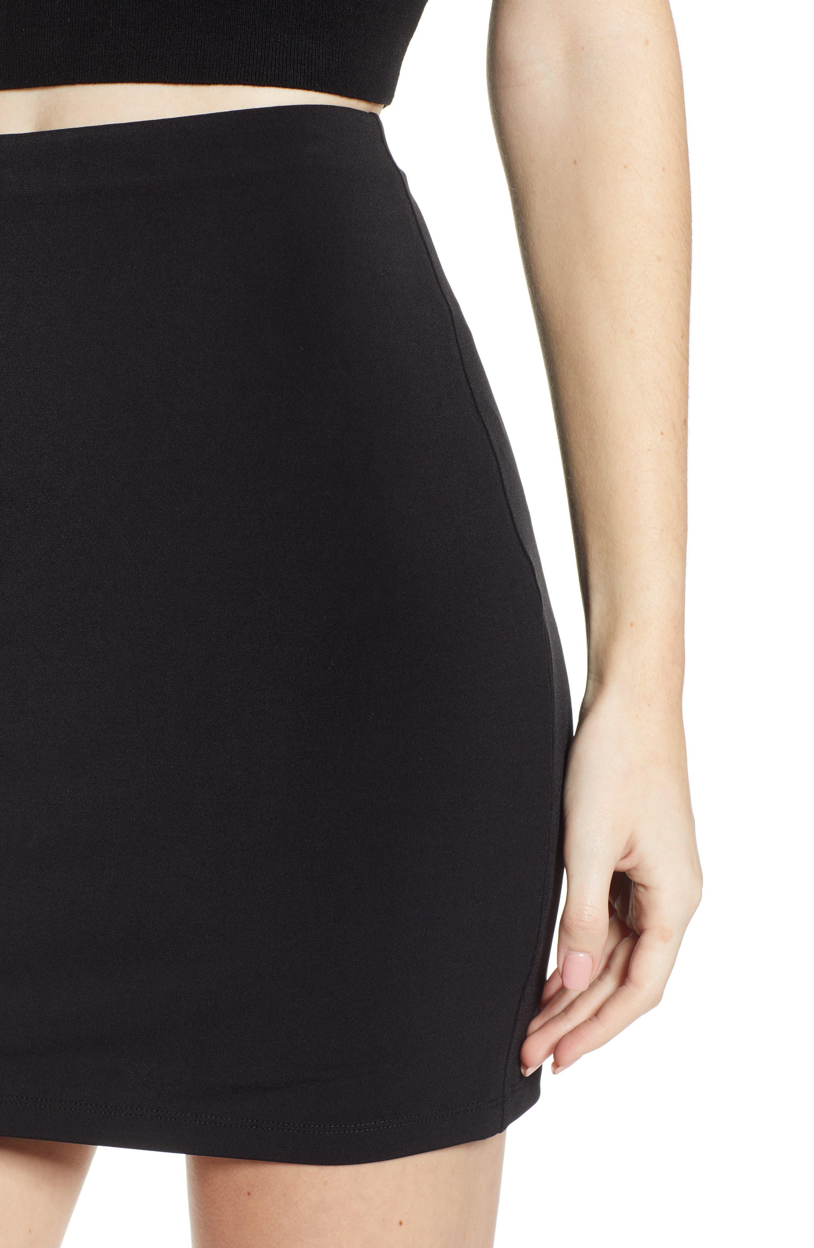 LEITH, Mini Body-Con Skirt, Alternate thumbnail 4, color, BLACK