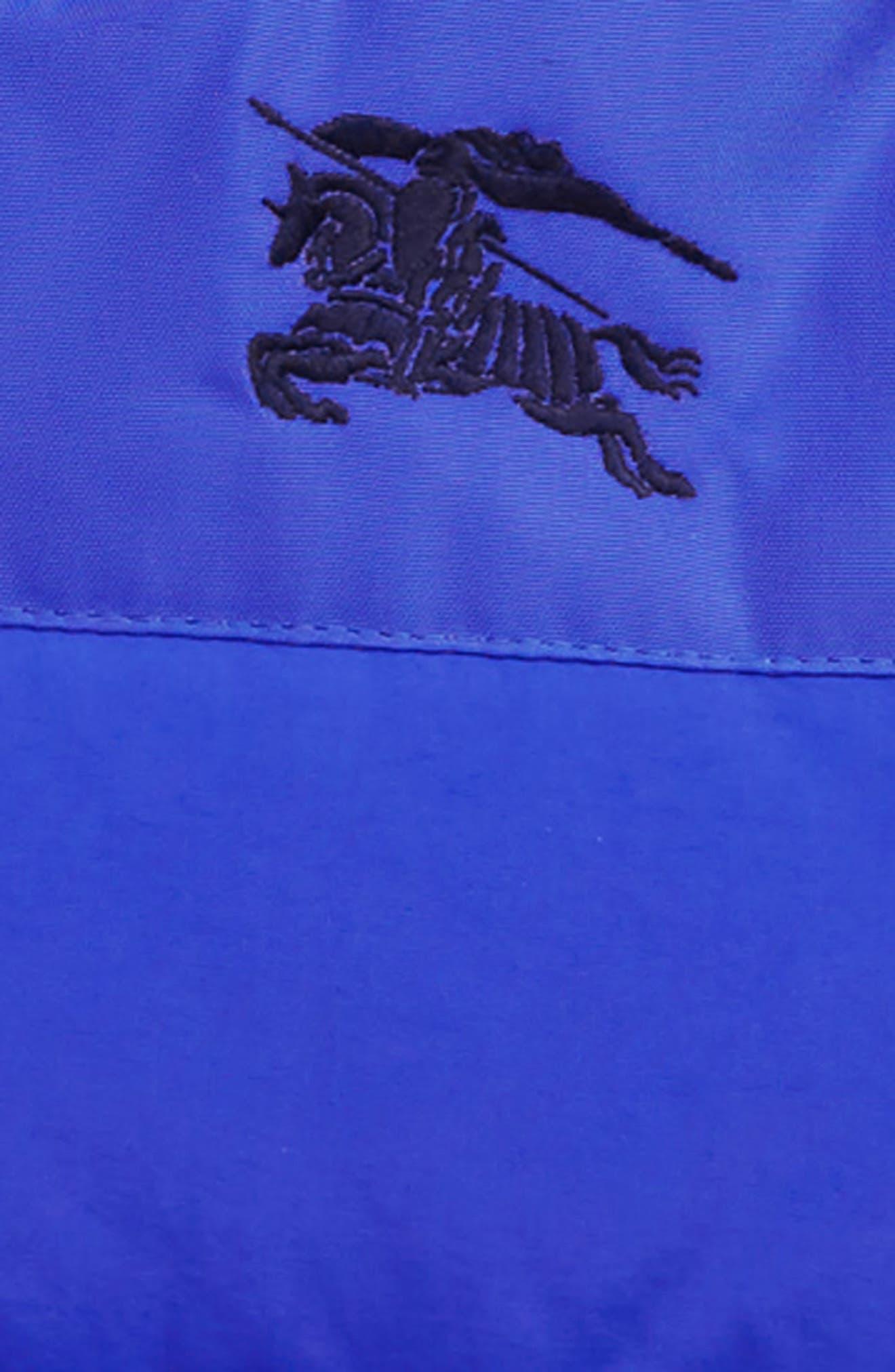 BURBERRY, Mini Ezra Hooded Down Jacket, Alternate thumbnail 2, color, ROYAL BLUE
