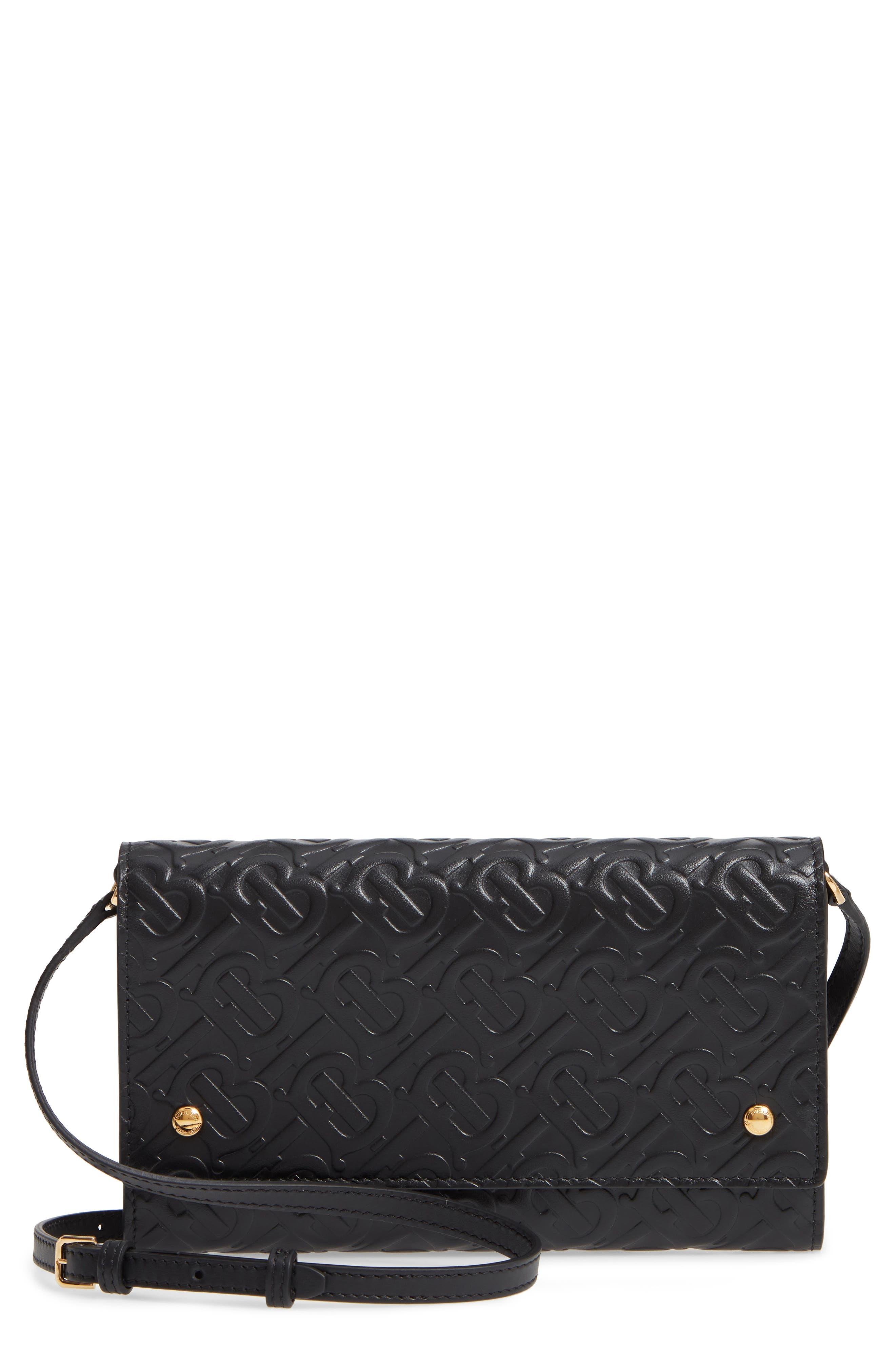 BURBERRY, Monogram Embossed Leather Crossbody Wallet, Main thumbnail 1, color, BLACK