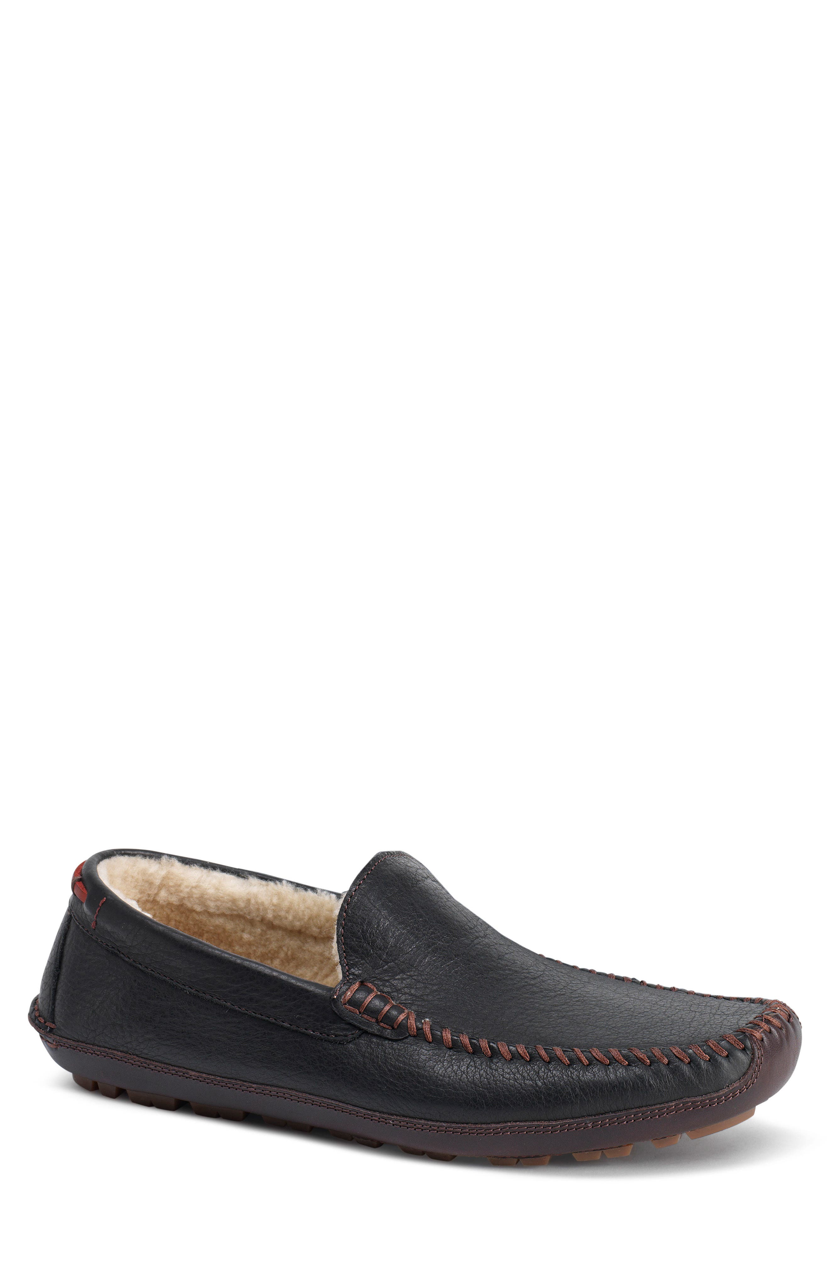 TRASK, Denton Driving Shoe with Genuine Shearling, Main thumbnail 1, color, BLACK LEATHER/ SHEARLING