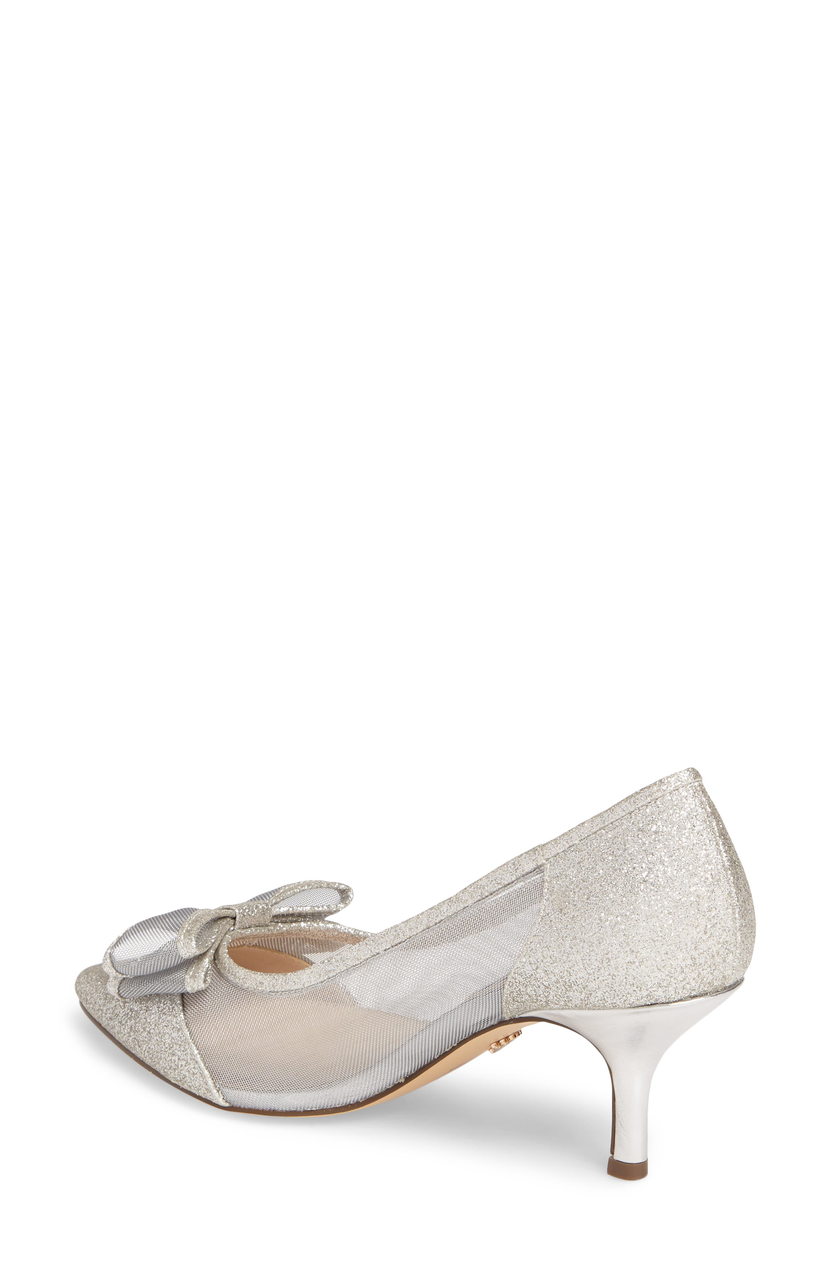 NINA, Bianca Pointy Toe Pump, Alternate thumbnail 2, color, SOFT SILVER GLITTER FABRIC
