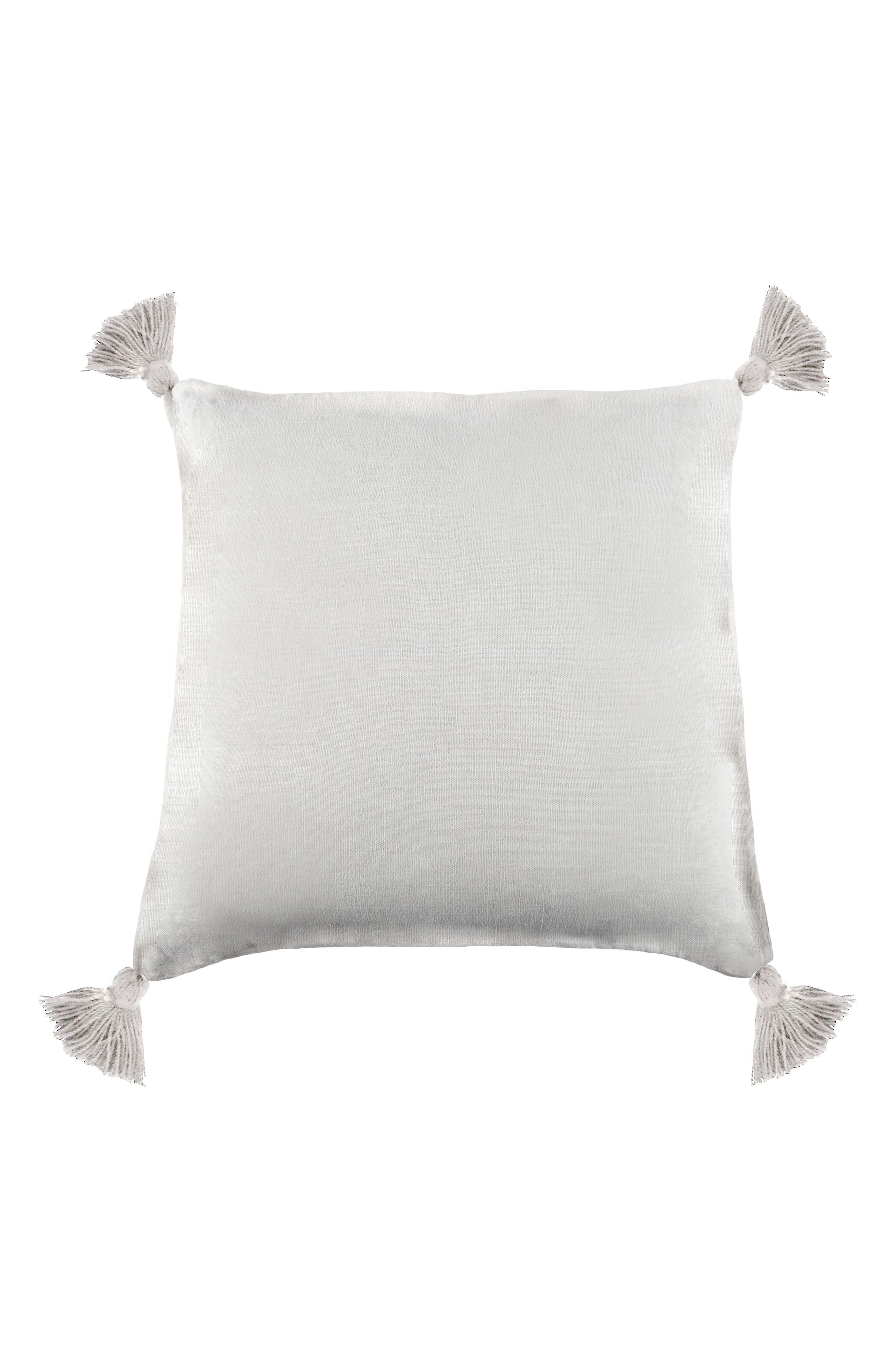 POM POM AT HOME, Montauk Tassel Accent Pillow, Main thumbnail 1, color, WHITE