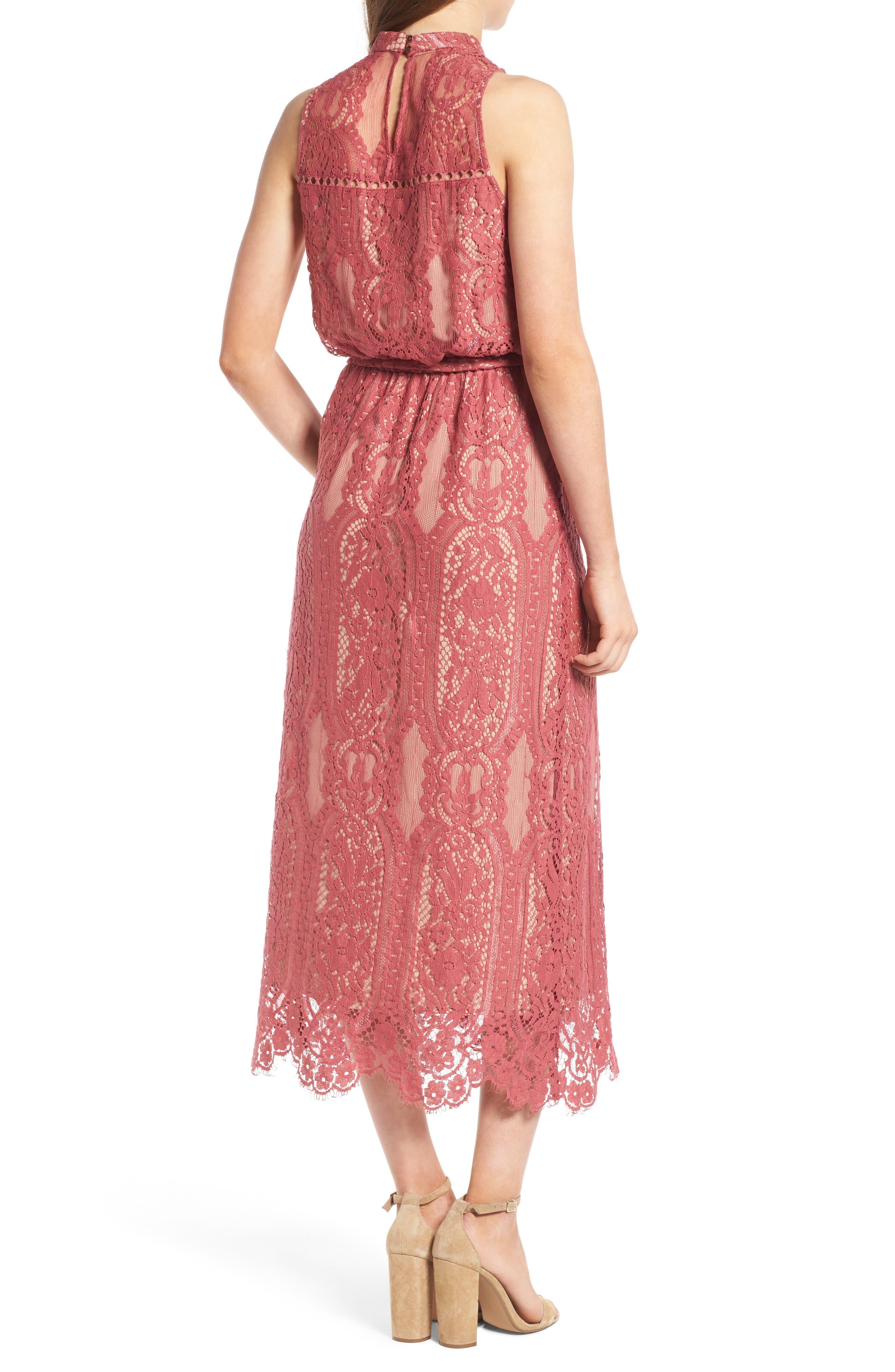 WAYF, 'Portrait' Lace Midi Dress, Alternate thumbnail 2, color, 650