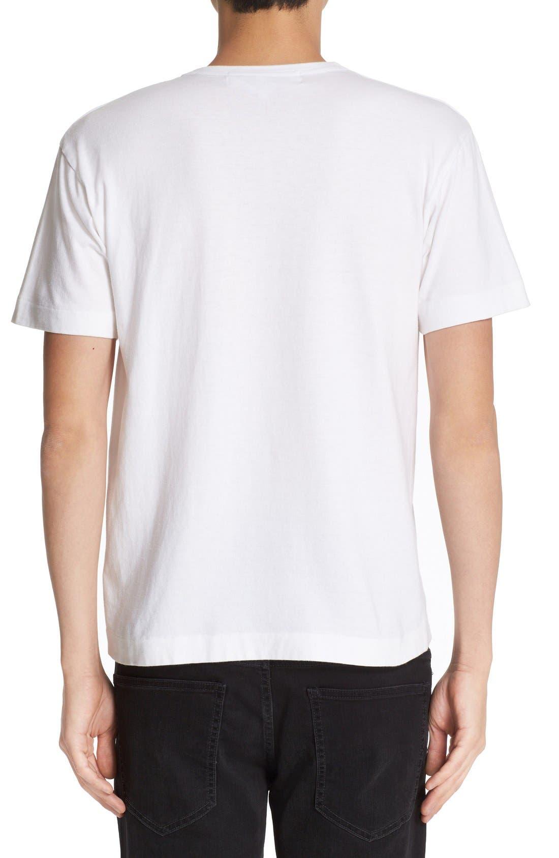 COMME DES GARÇONS PLAY, Heart Face Graphic T-Shirt, Alternate thumbnail 3, color, WHITE
