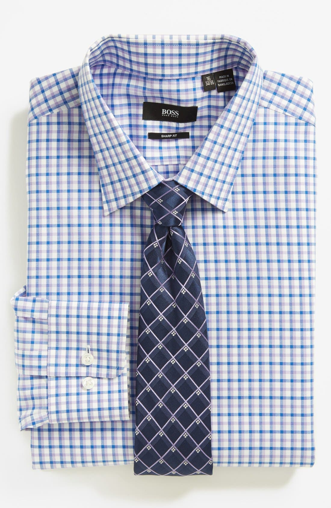 BOSS, HUGO BOSS 'Marlow' Sharp Fit Dress Shirt, Alternate thumbnail 3, color, 530