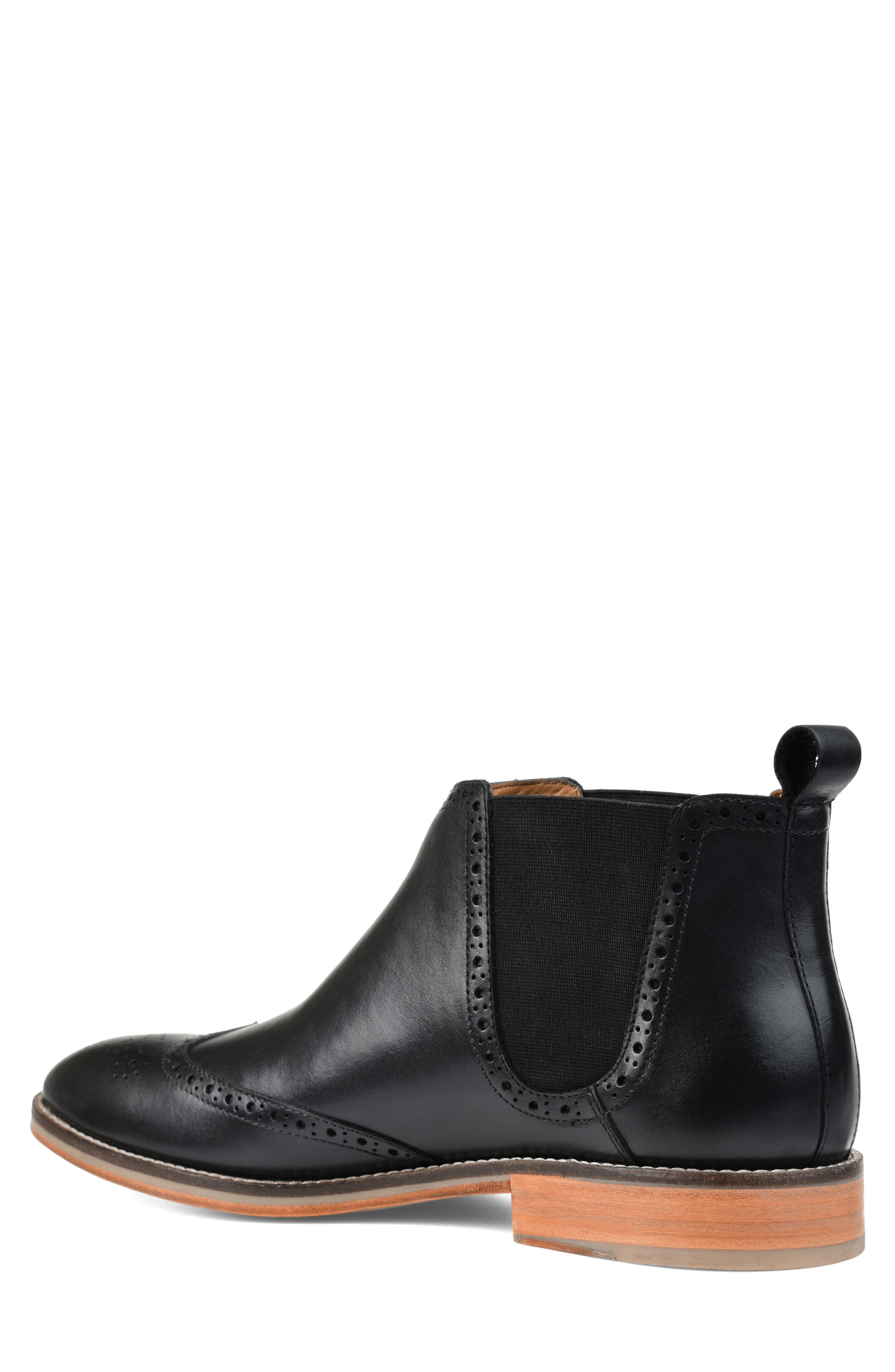 THOMAS AND VINE, Thorne Wingtip Chelsea Boot, Alternate thumbnail 2, color, BLACK LEATHER