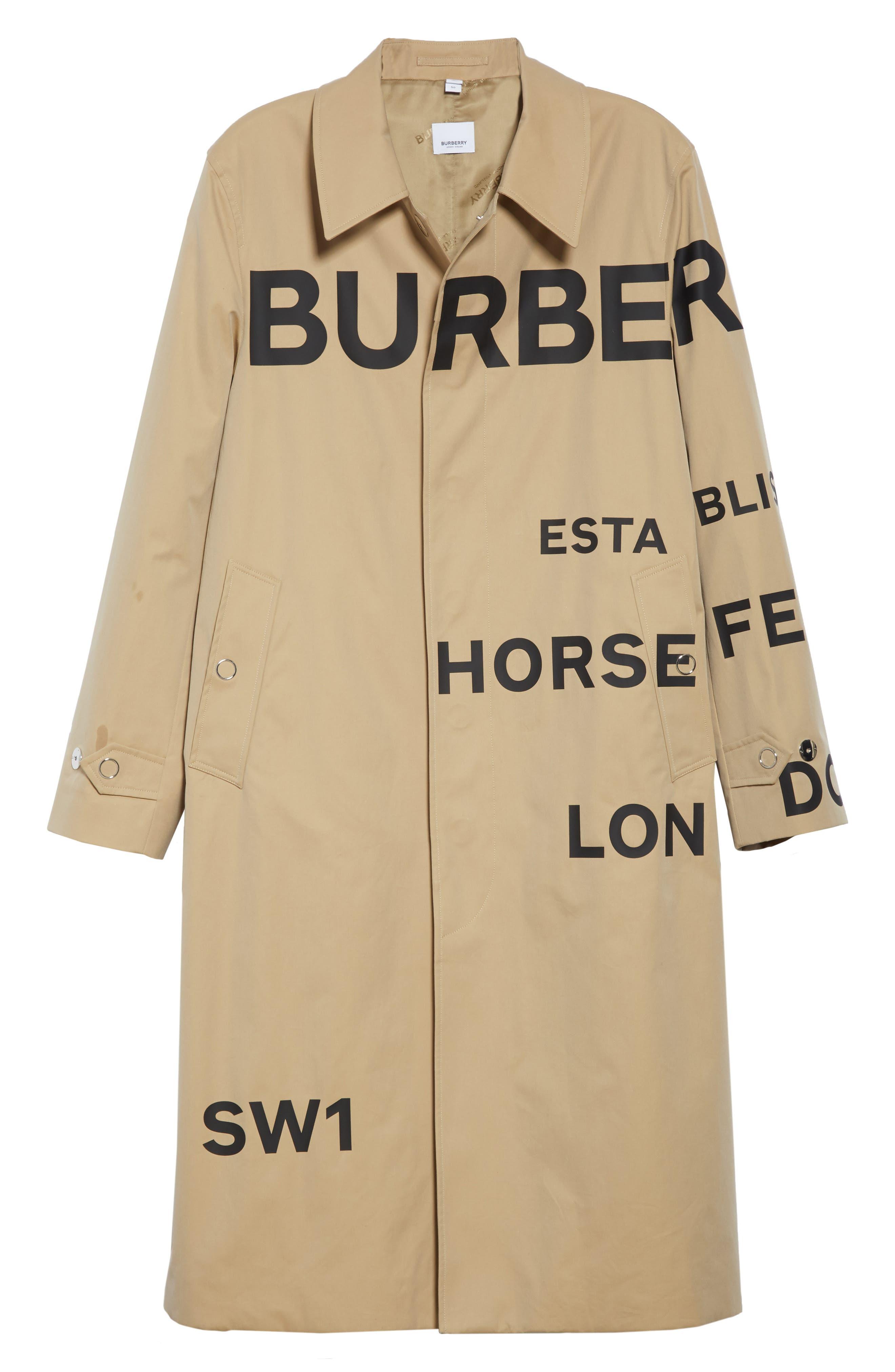 BURBERRY, Logo Print Car Coat, Alternate thumbnail 5, color, HONEY