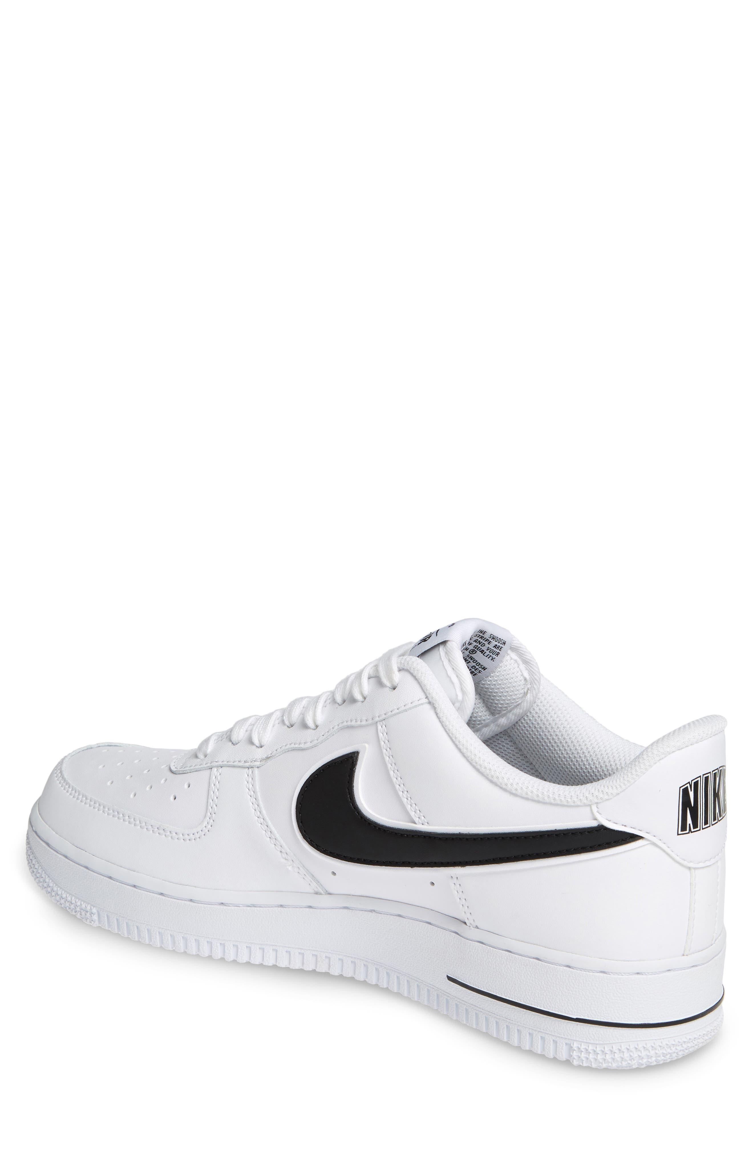 NIKE, Air Force 1 '07 3 Sneaker, Alternate thumbnail 2, color, WHITE/ BLACK