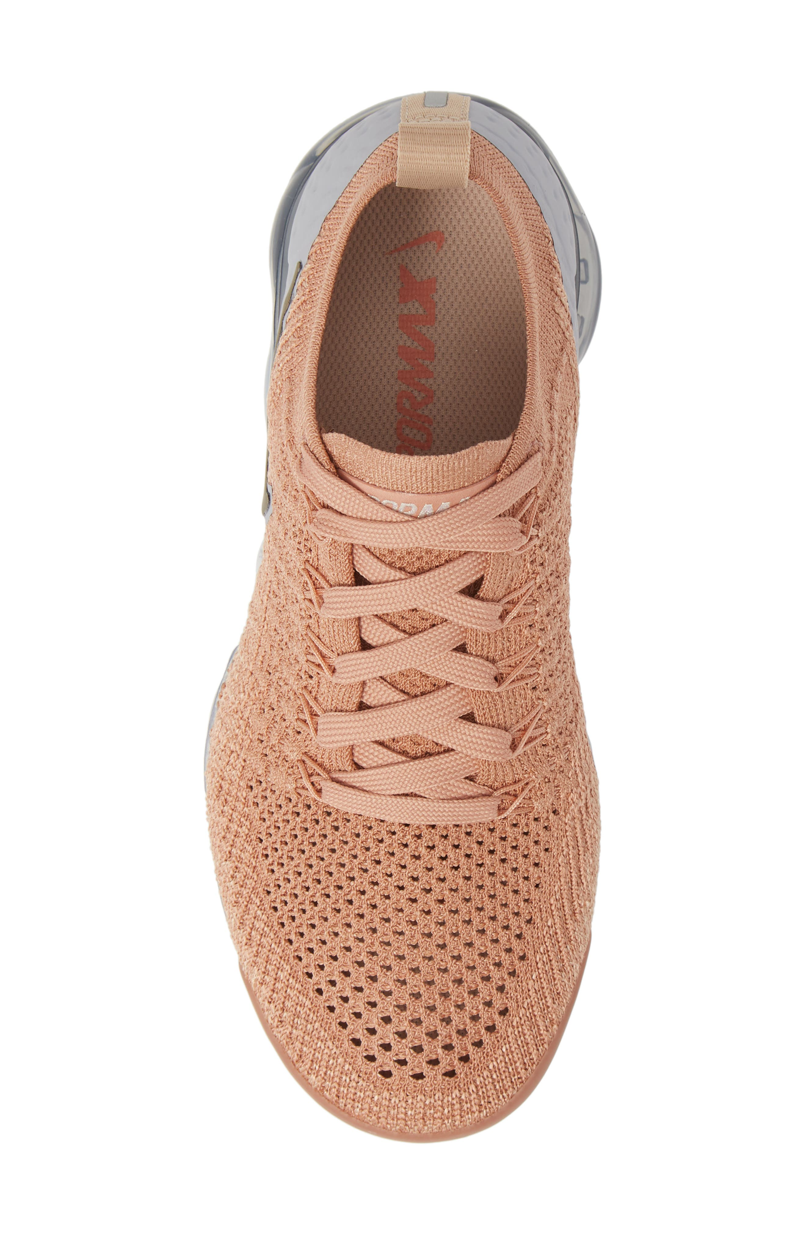 NIKE, Air VaporMax Flyknit 2 Running Shoe, Alternate thumbnail 5, color, ROSE GOLD/ BIO BEIGE