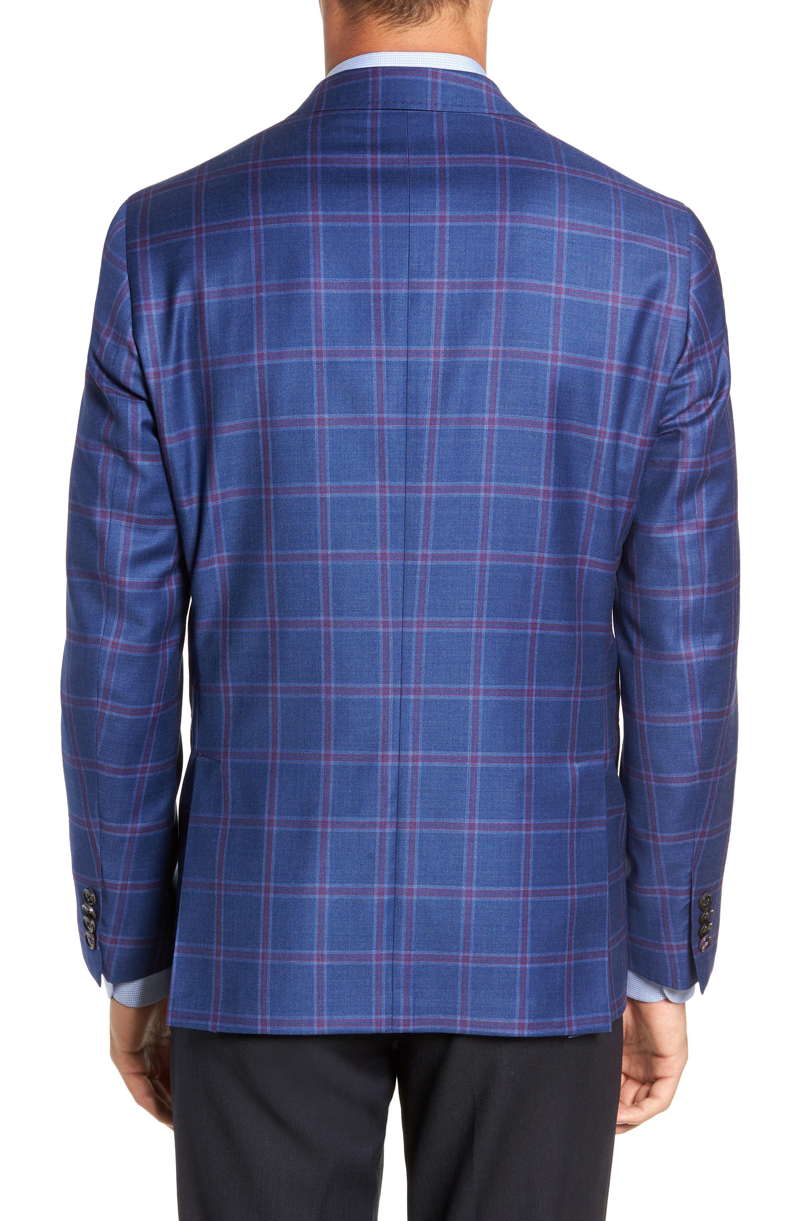 TED BAKER LONDON, Konan Trim Fit Wool Sport Coat, Alternate thumbnail 2, color, BLUE