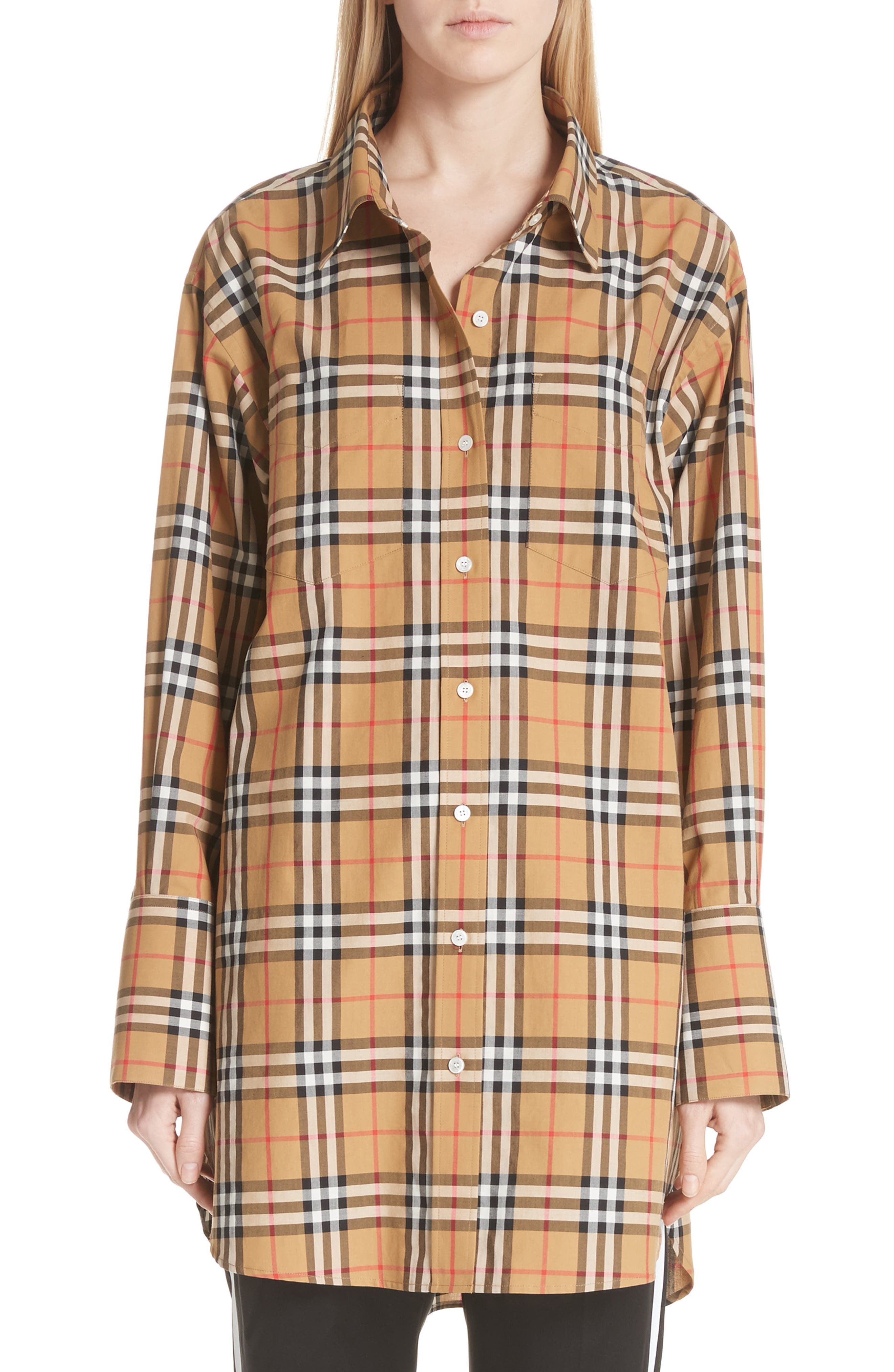 BURBERRY, Redwing Vintage Check Cotton Shirt, Main thumbnail 1, color, ANTIQUE YELLOW