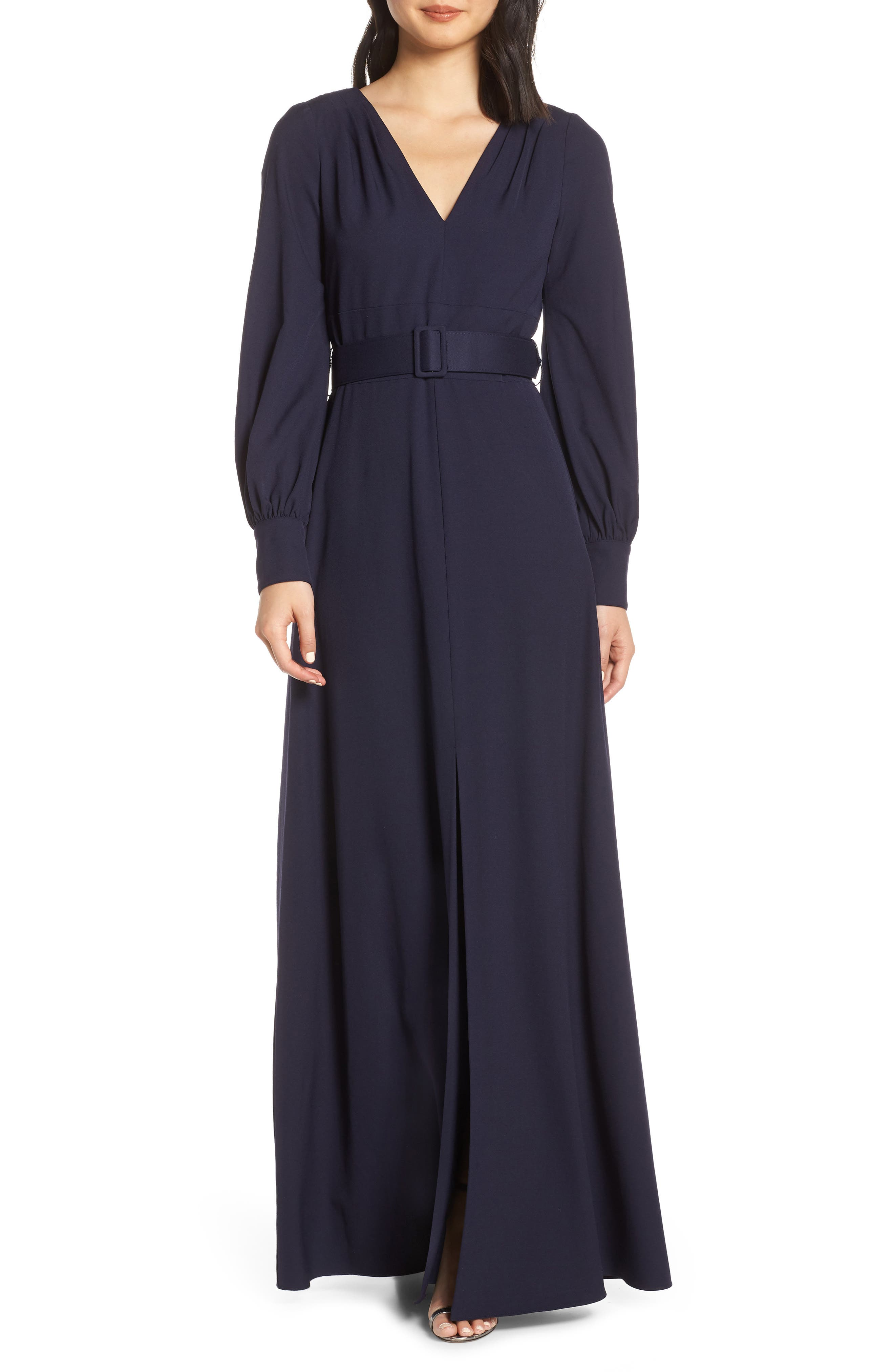 Eliza J Long Sleeve Belted Gown, Blue
