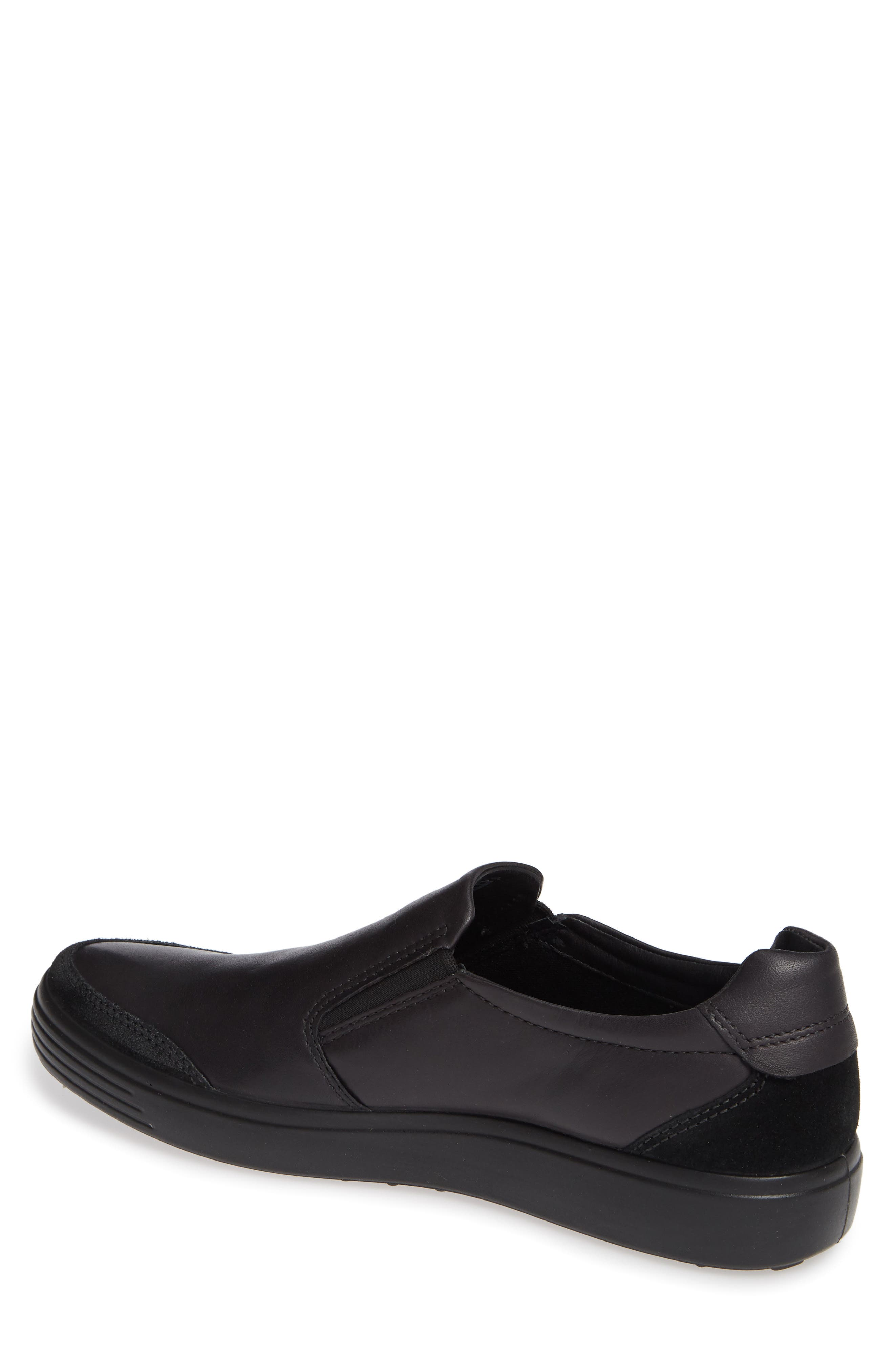 ECCO, Soft 7 Relaxed Slip-On, Alternate thumbnail 2, color, BLACK LEATHER