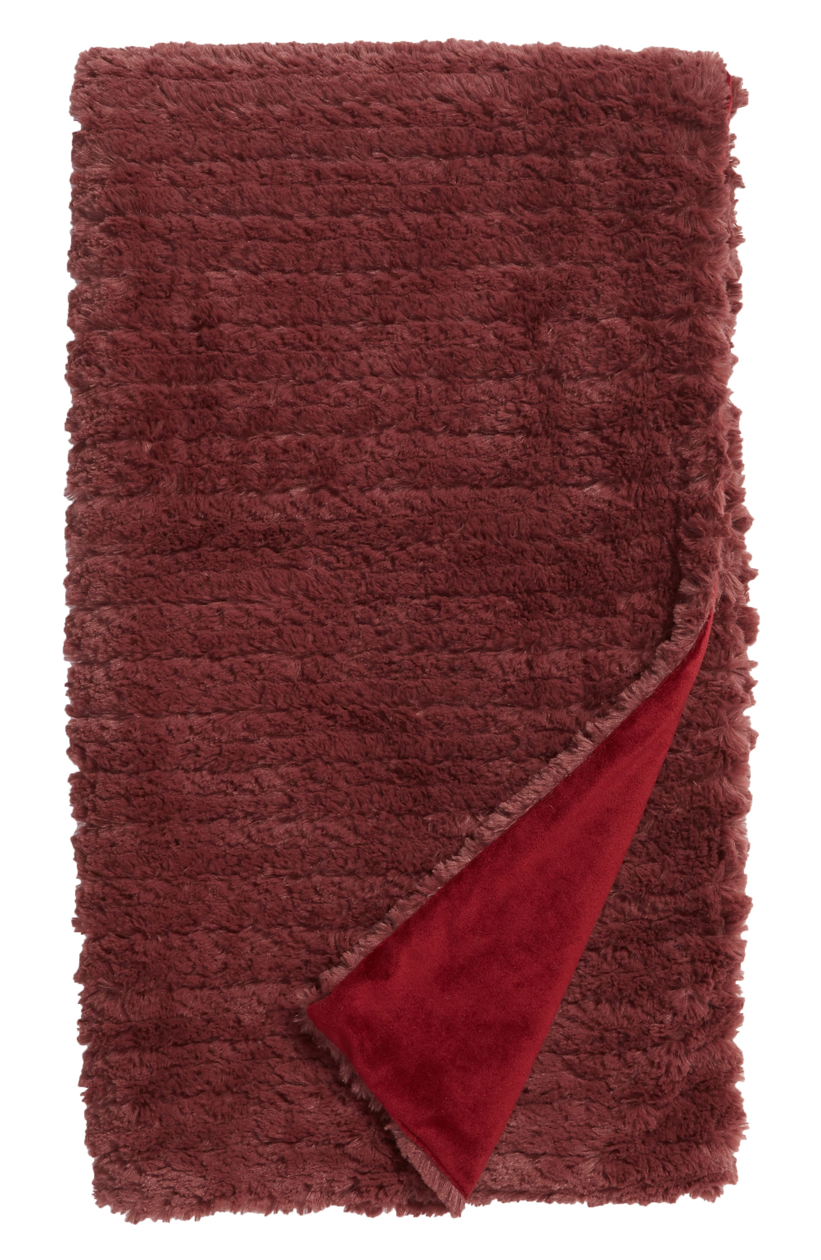 NORDSTROM AT HOME, Faux Fur Throw Blanket, Main thumbnail 1, color, BURGUNDY GINGER