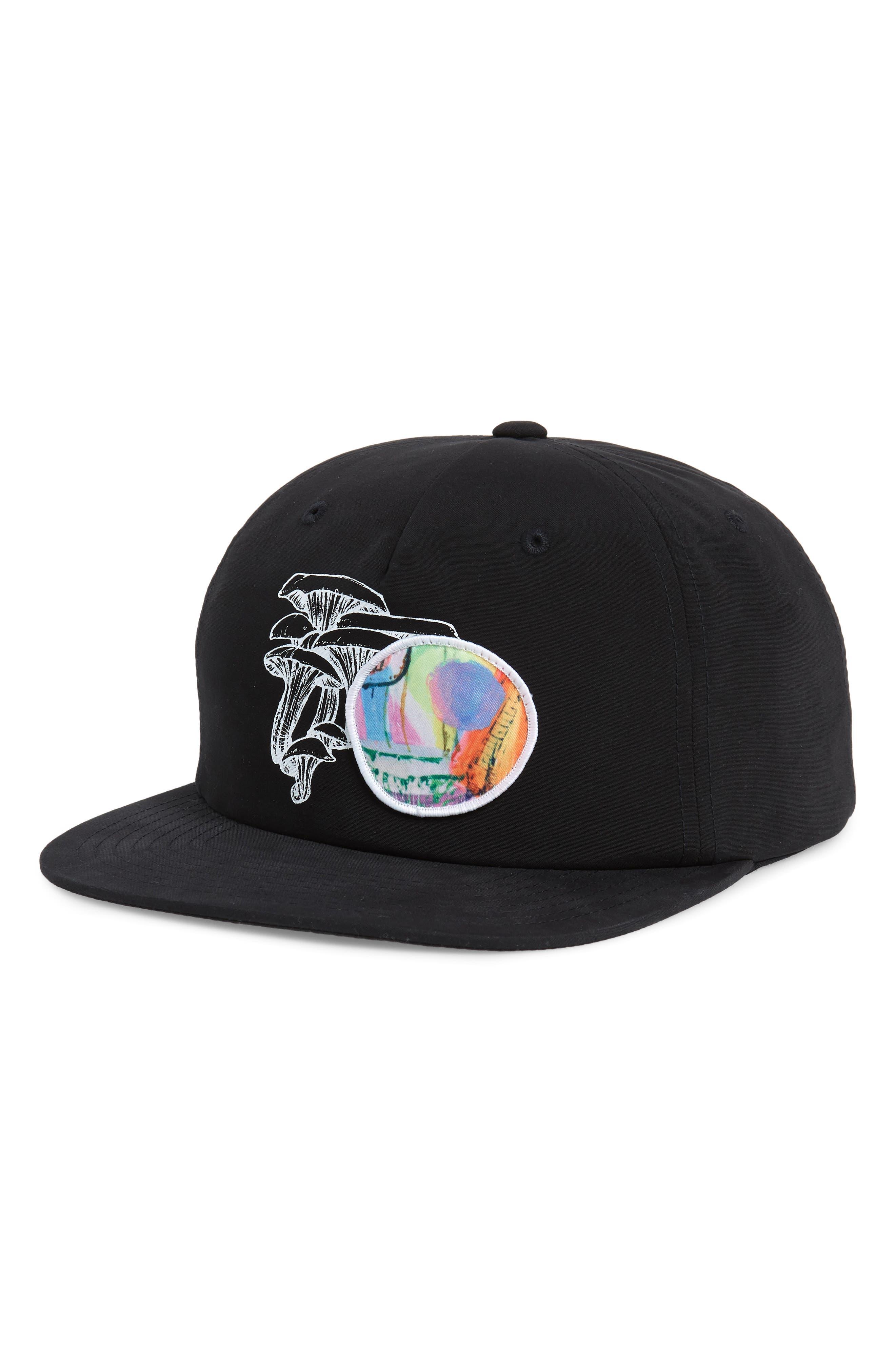 RVCA, Sage Vaughn Snapback Baseball Cap, Main thumbnail 1, color, BLACK