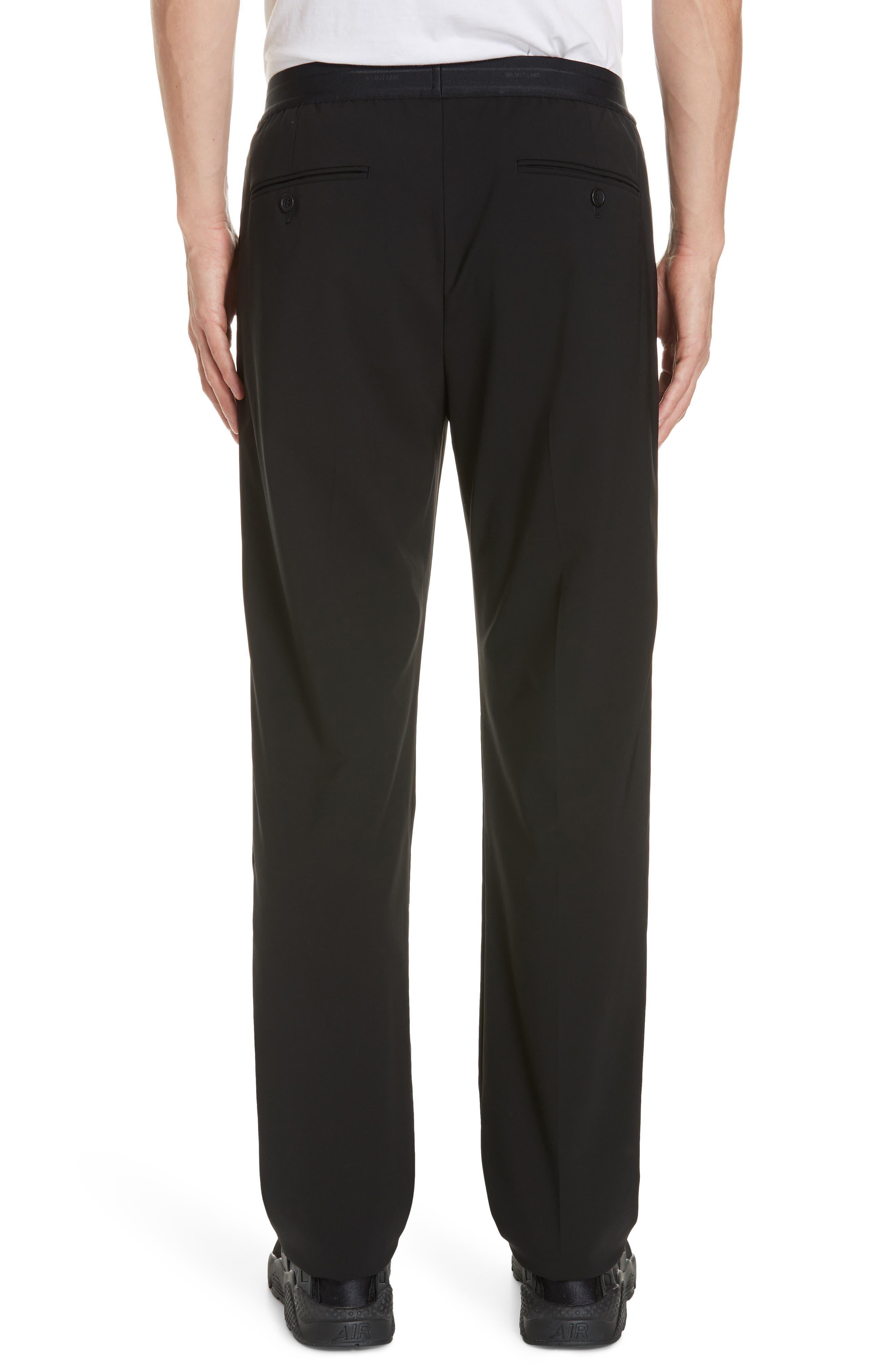 HELMUT LANG, Wool Pants, Alternate thumbnail 2, color, BLACK ON BLACK