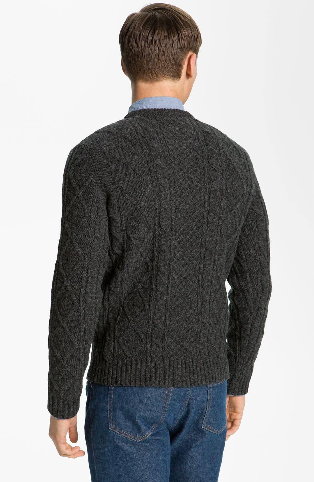 A.P.C., 'Fisherman's' Lambswool Sweater, Alternate thumbnail 3, color, 021