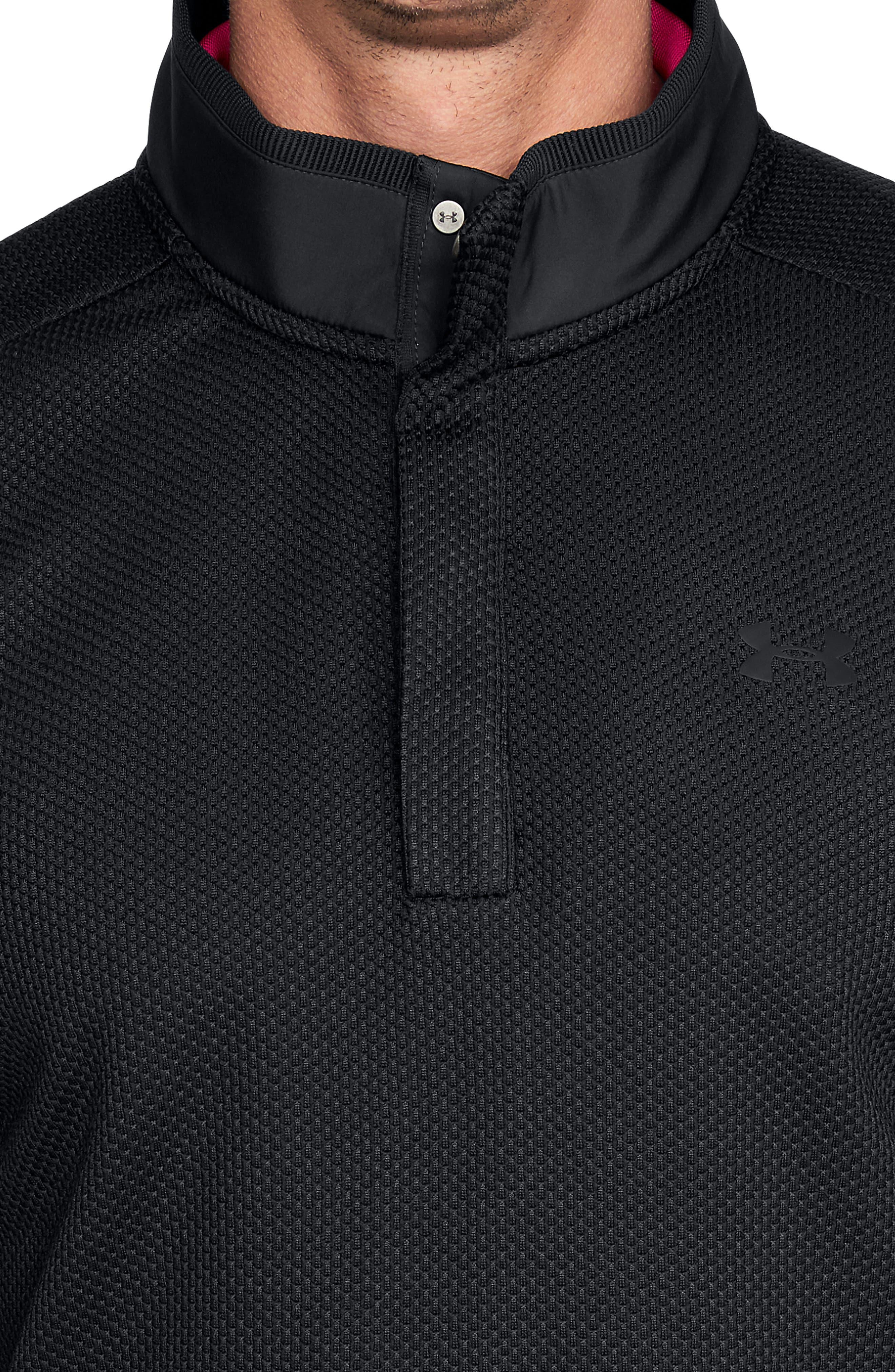 UNDER ARMOUR, Storm SweaterFleece Snap Mock Neck Pullover, Alternate thumbnail 3, color, BLACK/ BLACK/ BLACK