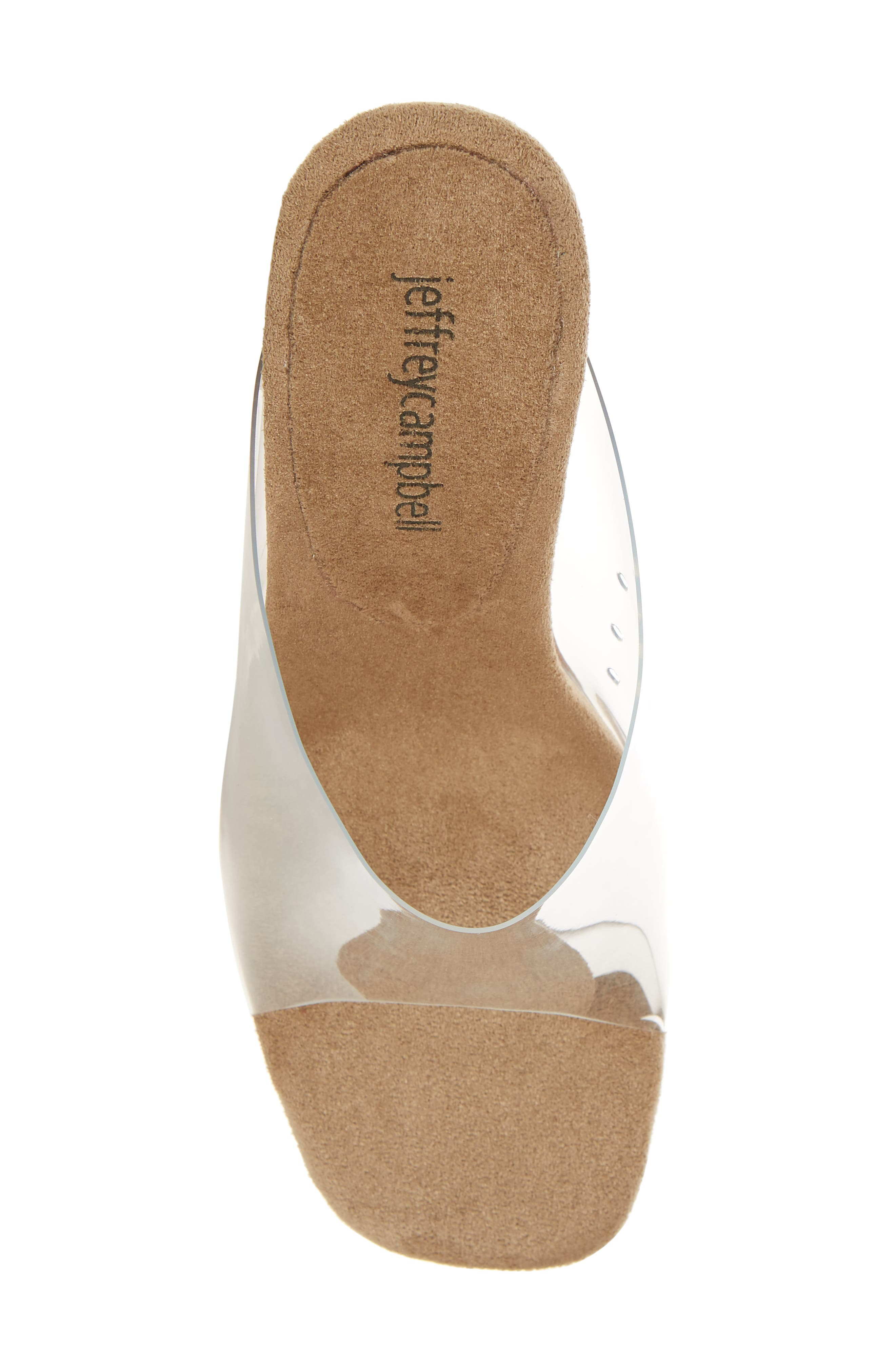 JEFFREY CAMPBELL, Clear Wedge Mule, Alternate thumbnail 5, color, CLEAR FAUX LEATHER