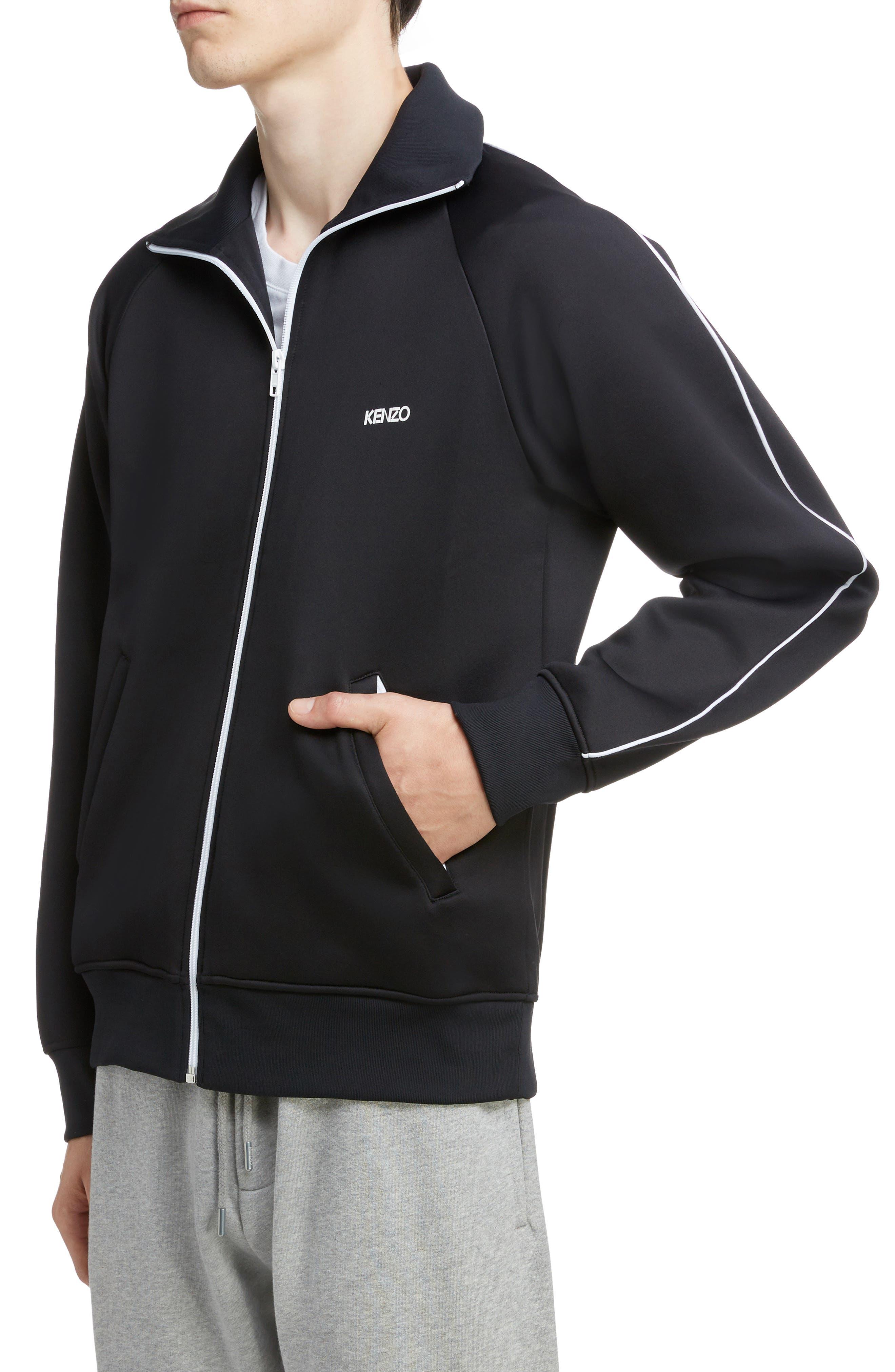 KENZO, Zip Track Jacket, Alternate thumbnail 4, color, BLACK