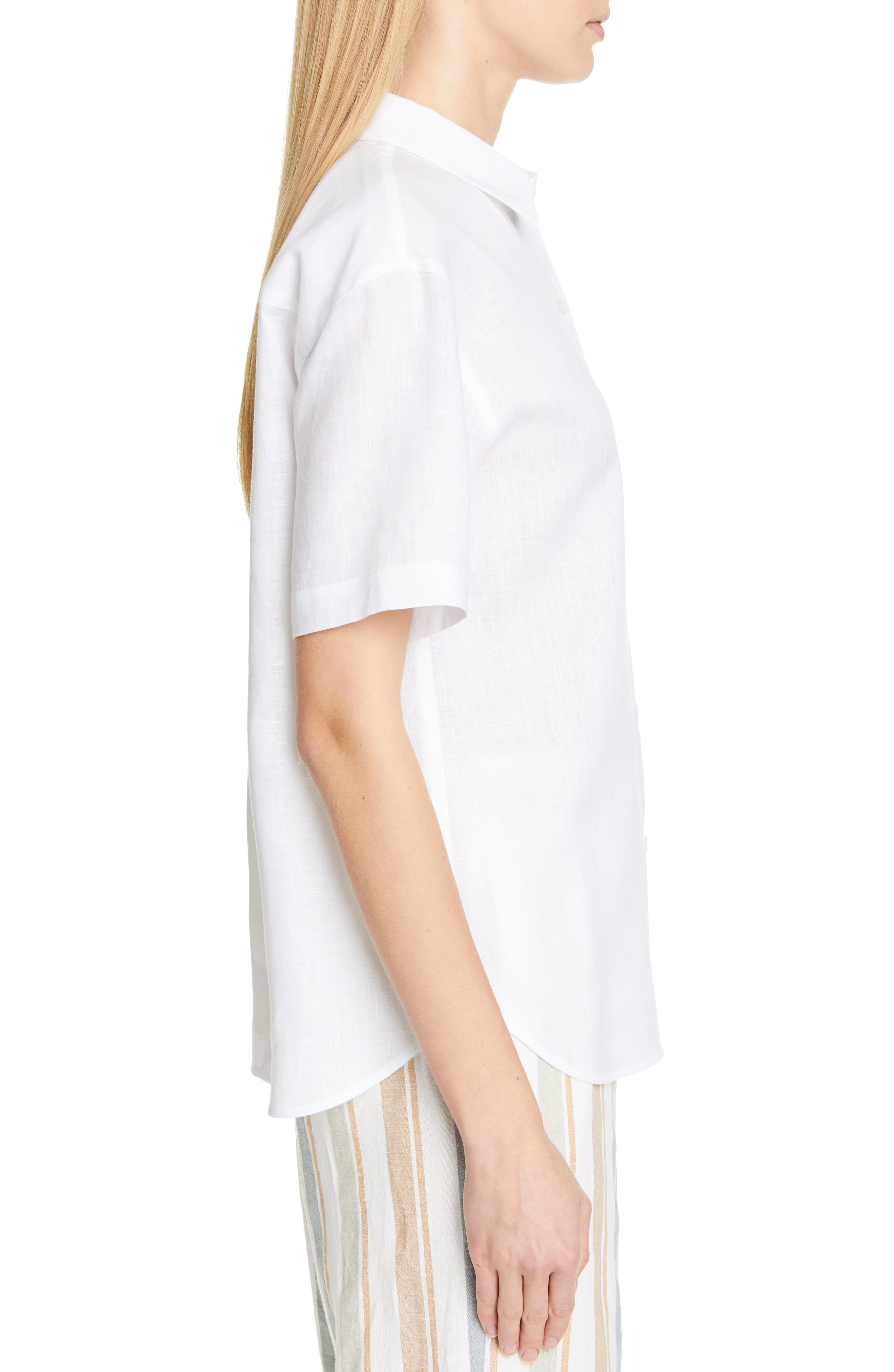 LAFAYETTE 148 NEW YORK, Justice Linen Shirt, Alternate thumbnail 3, color, WHITE