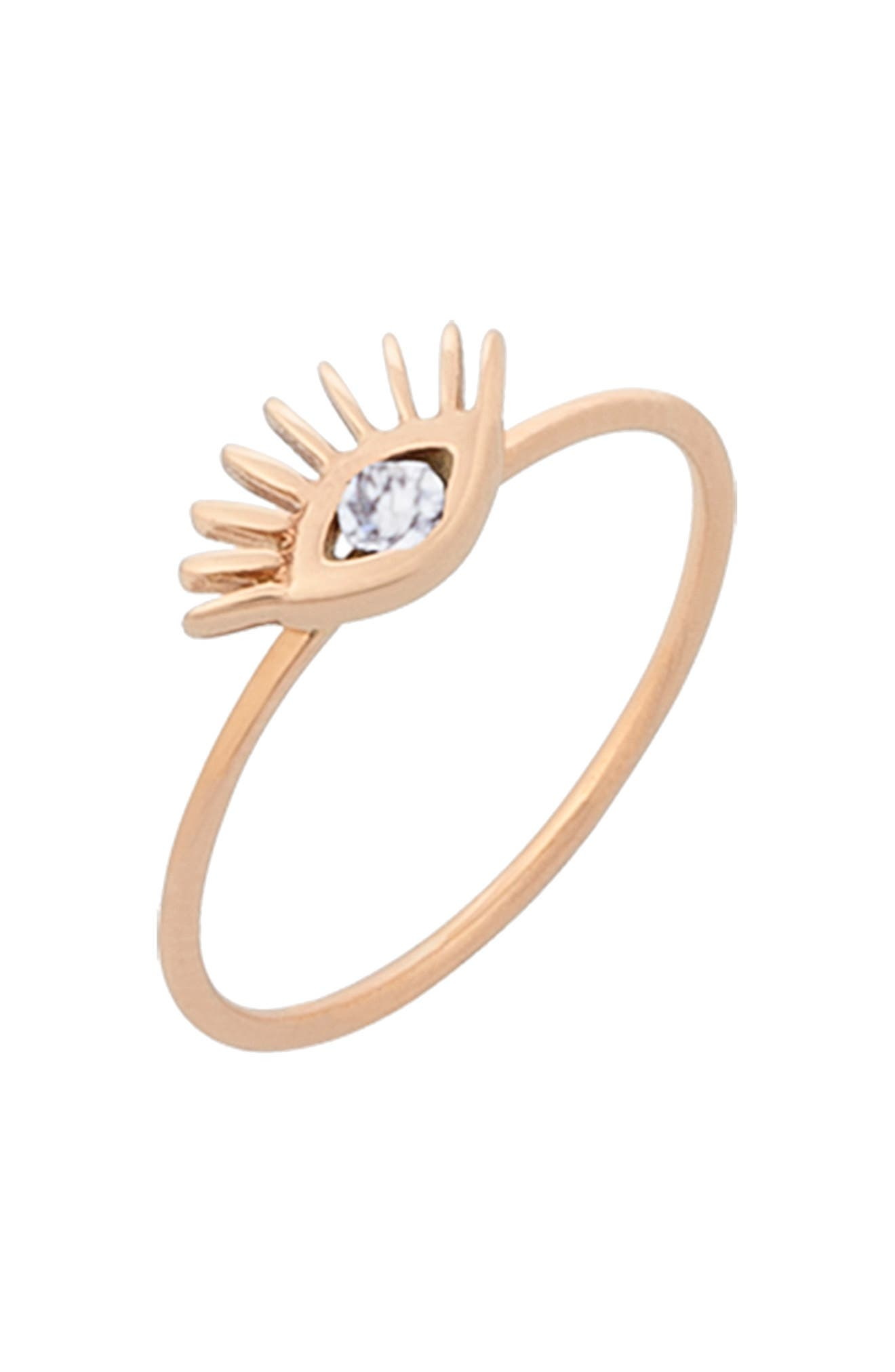 KISMET BY MILKA, Diamond Evil Eye Ring, Alternate thumbnail 2, color, ROSE GOLD