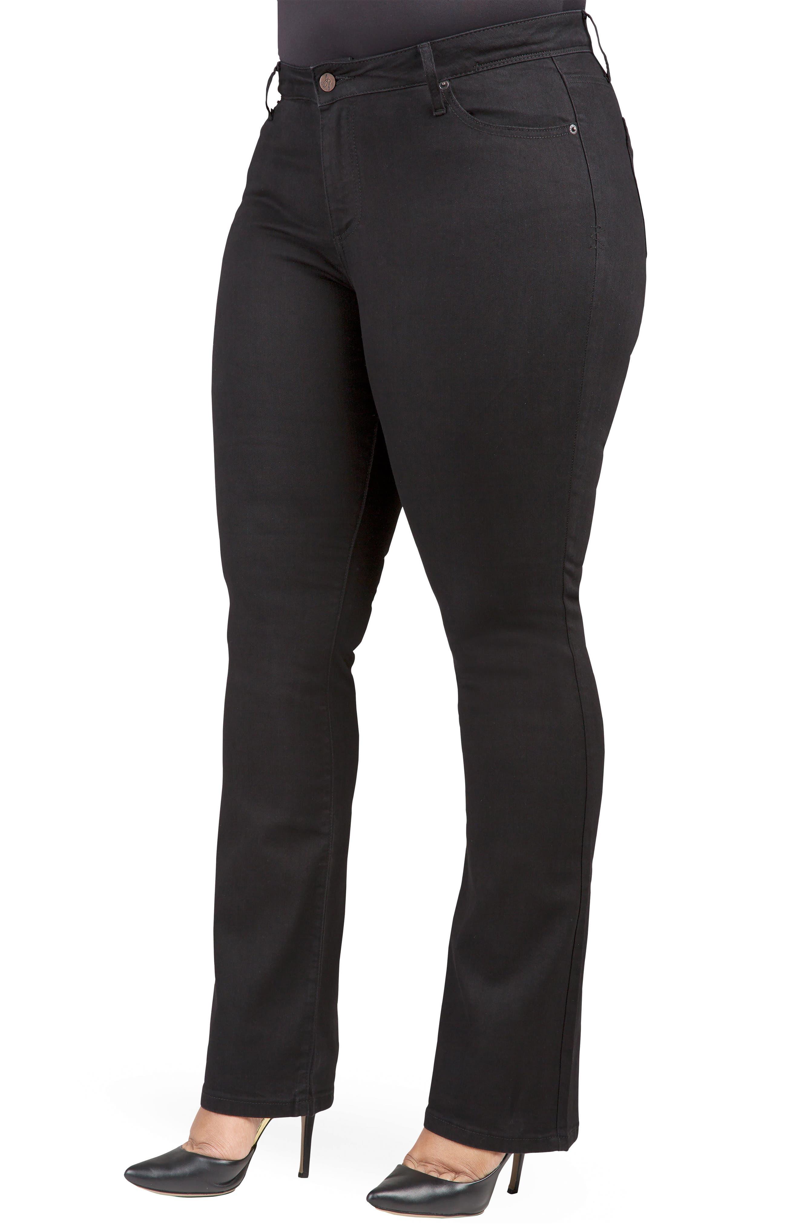 POETIC JUSTICE, Scarlett Slim Bootcut Curvy Fit Jeans, Alternate thumbnail 3, color, RINSE BLACK