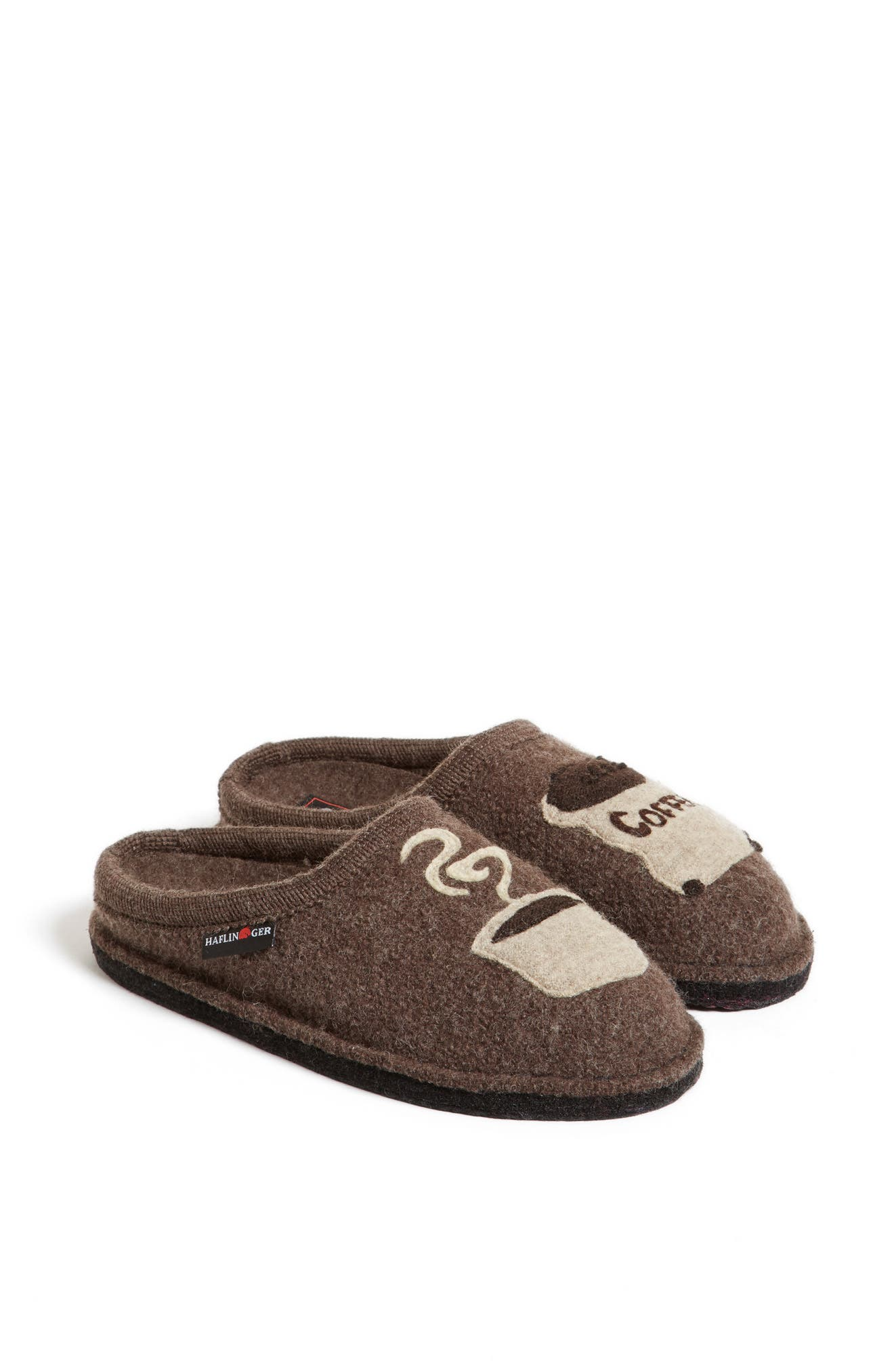 HAFLINGER, 'Coffee' Slipper, Alternate thumbnail 4, color, EARTH WOOL